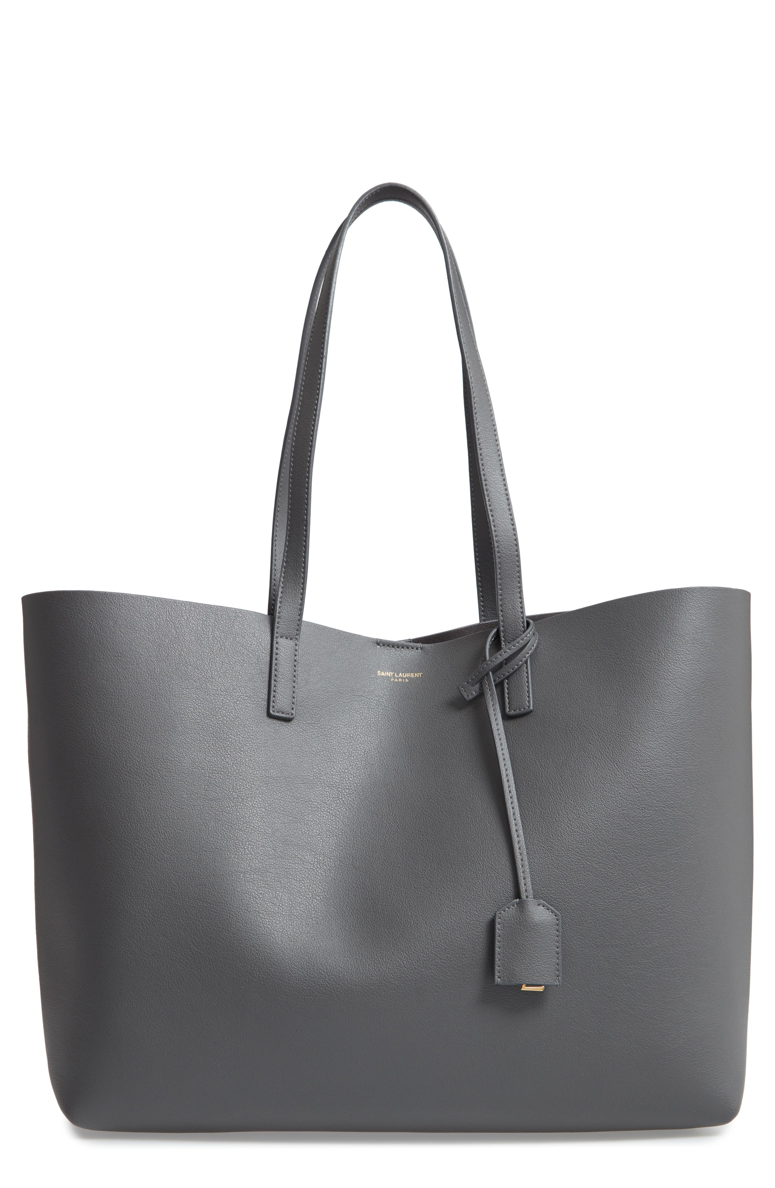Large East-West Leather Shopper Bag in Gray