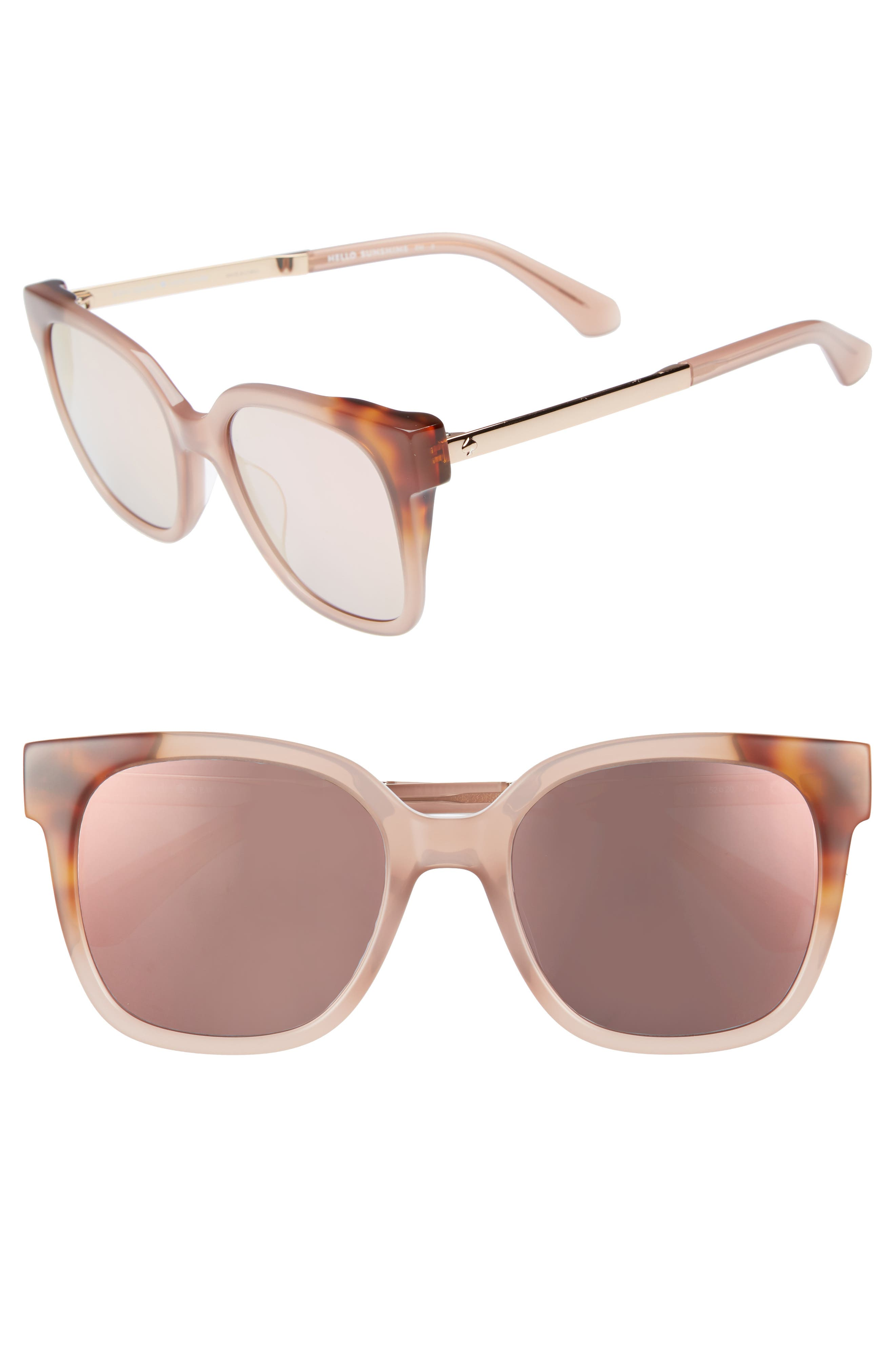 caelyns basic 52mm sunglasses,                             Main thumbnail 1, color,                             NUDE/ HAVANA/ HONEY