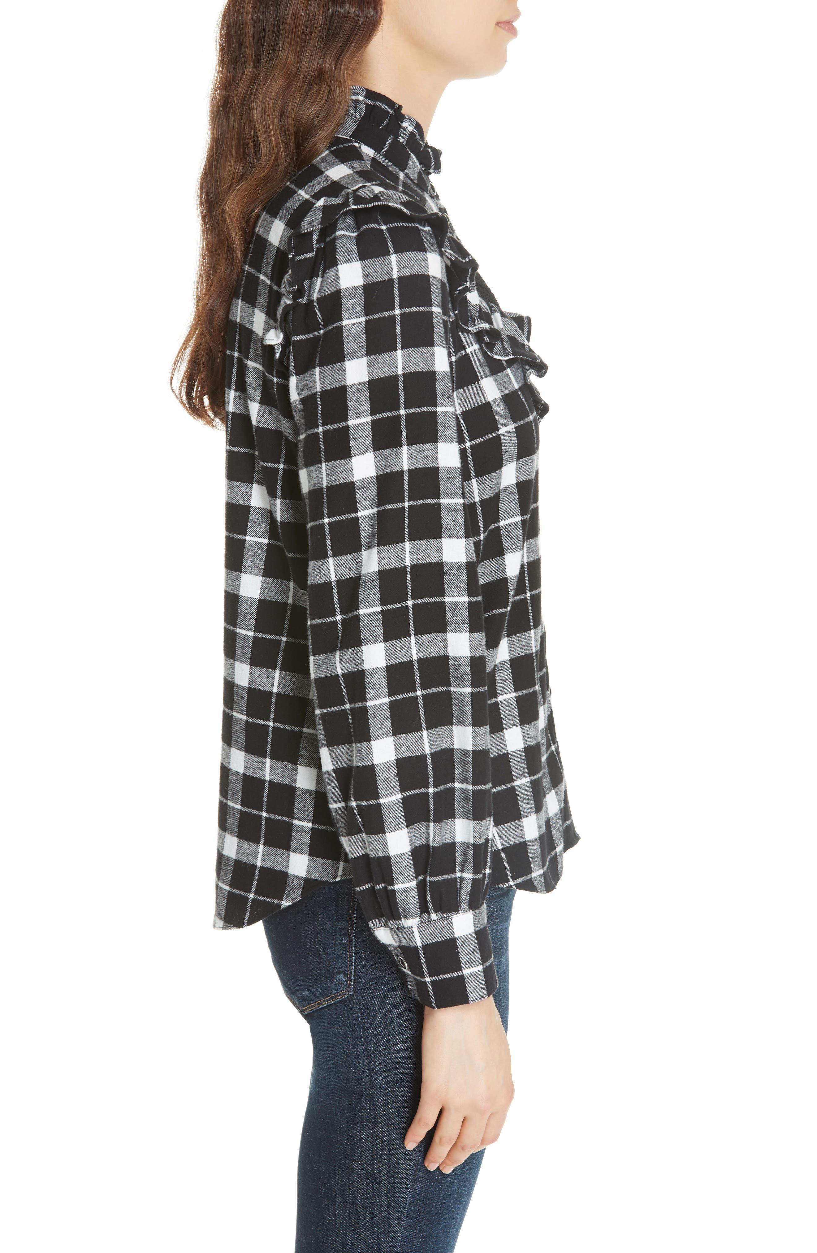 rustic plaid flannel shirt,                             Alternate thumbnail 3, color,                             001
