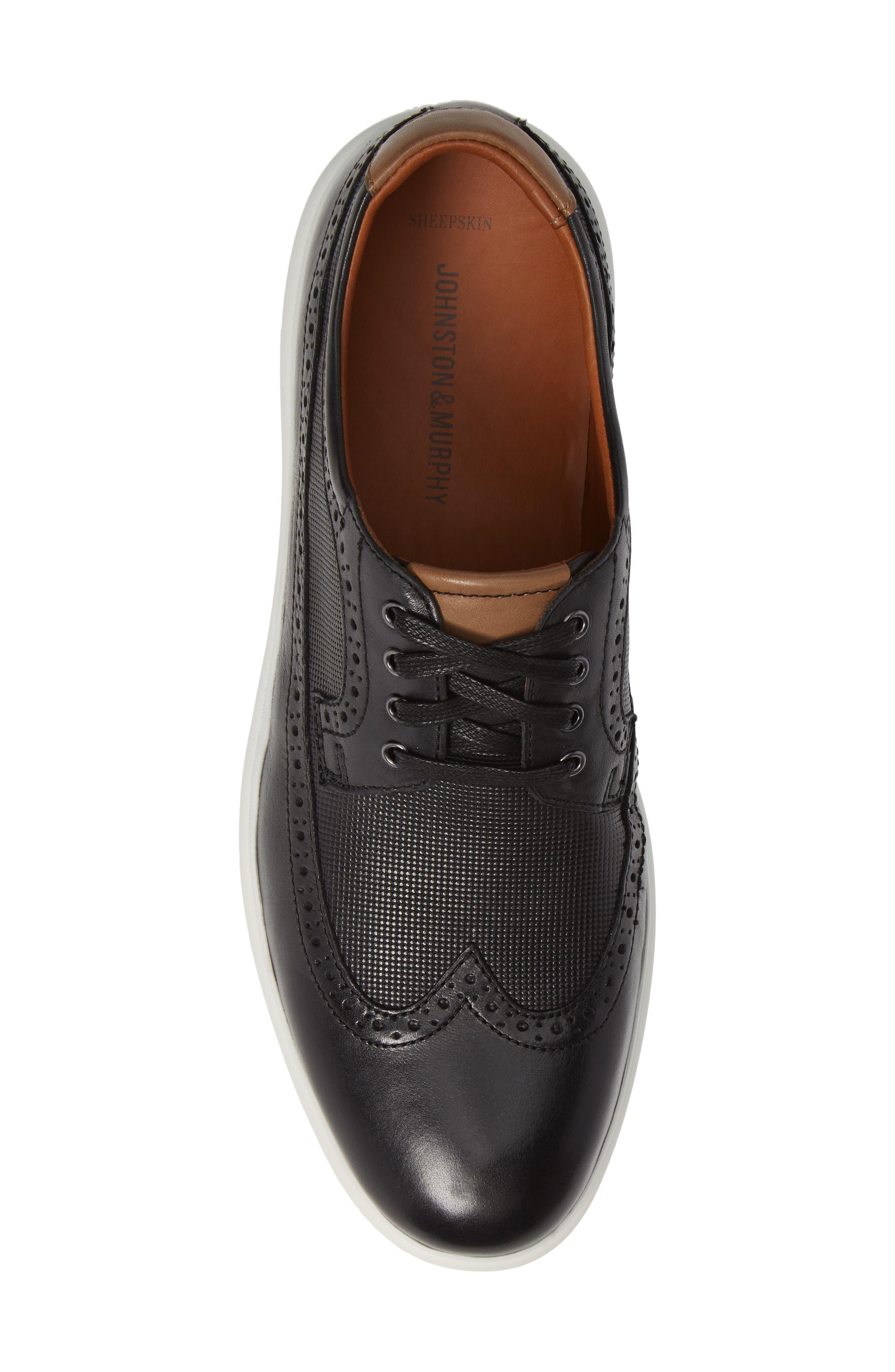 Elliston Wingtip Sneaker,                             Alternate thumbnail 5, color,                             BLACK LEATHER