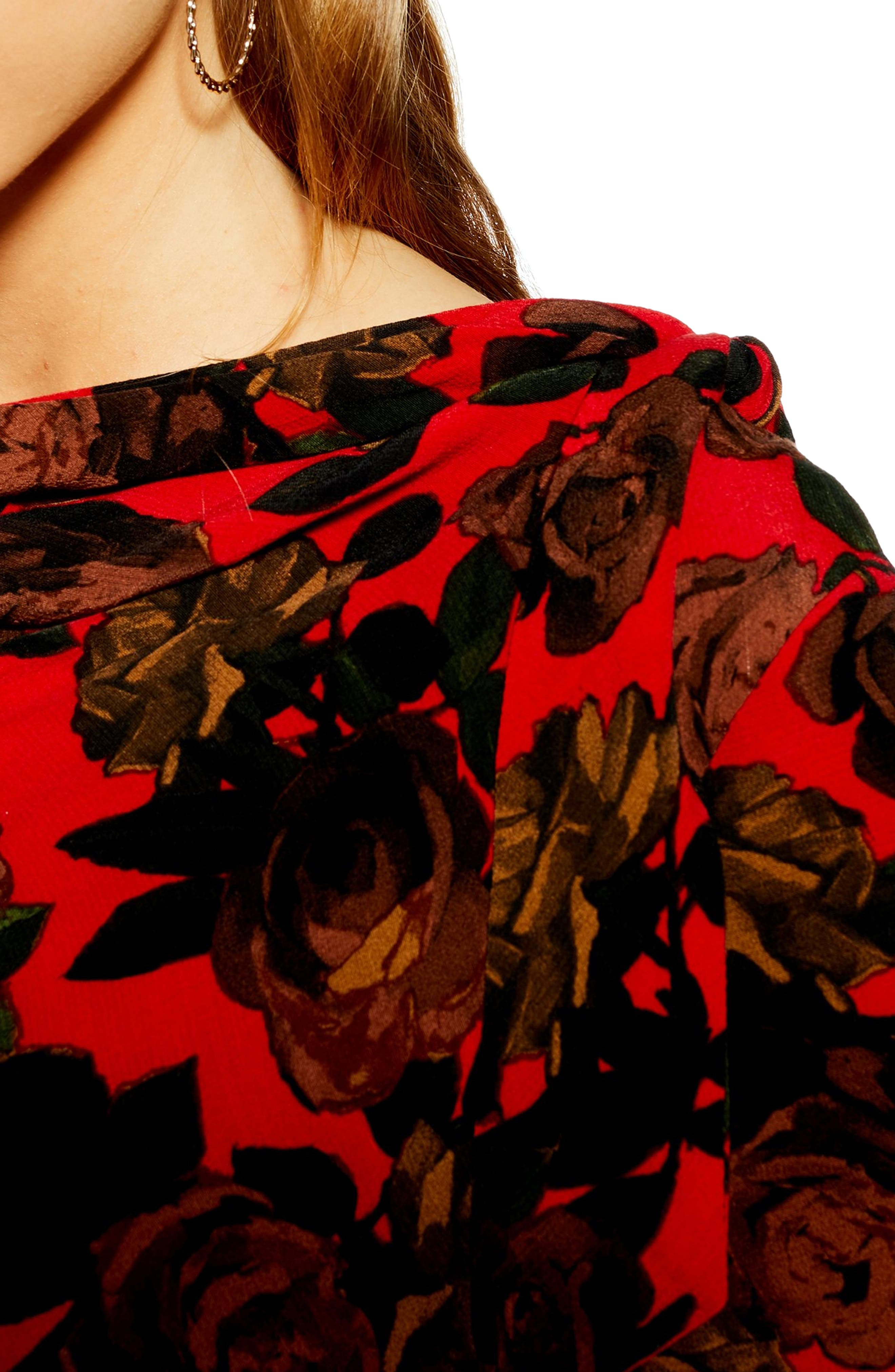 TOPSHOP,                             Rose Cut Tie Neck Midi Dress,                             Alternate thumbnail 4, color,                             RED MULTI
