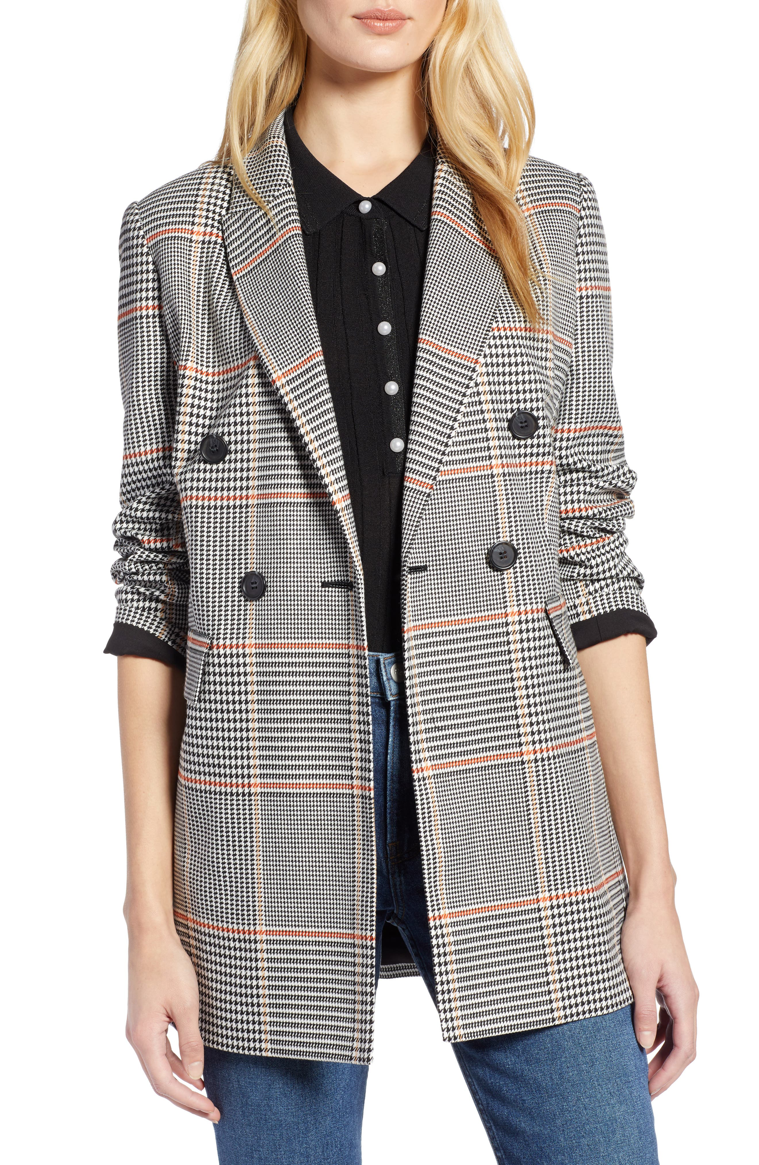 x Atlantic-Pacific Menswear Plaid Blazer,                         Main,                         color, BLACK PLAID