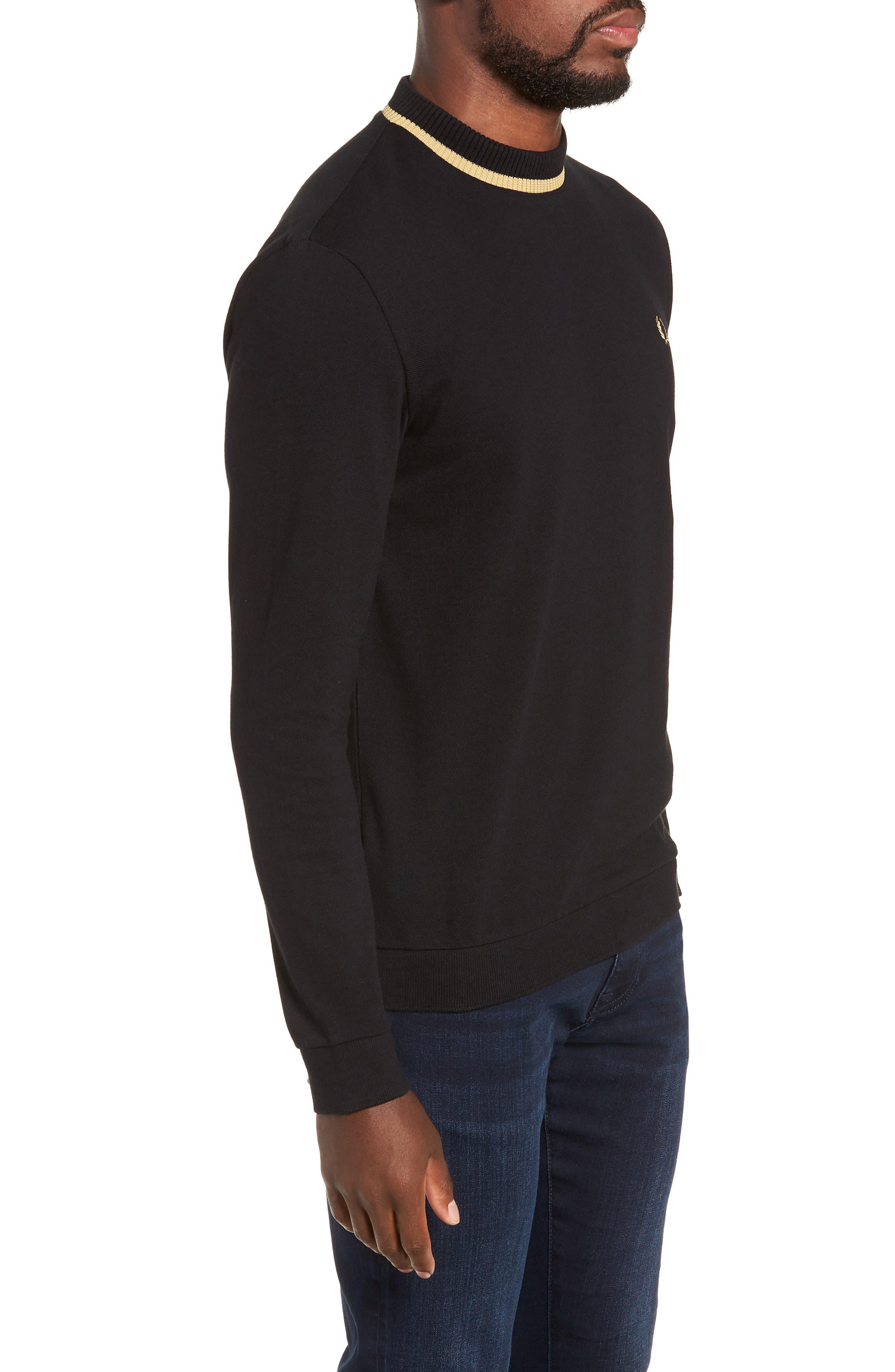 Long Sleeve Piqué T-Shirt,                             Alternate thumbnail 3, color,                             BLACK / CHAMPAGNE