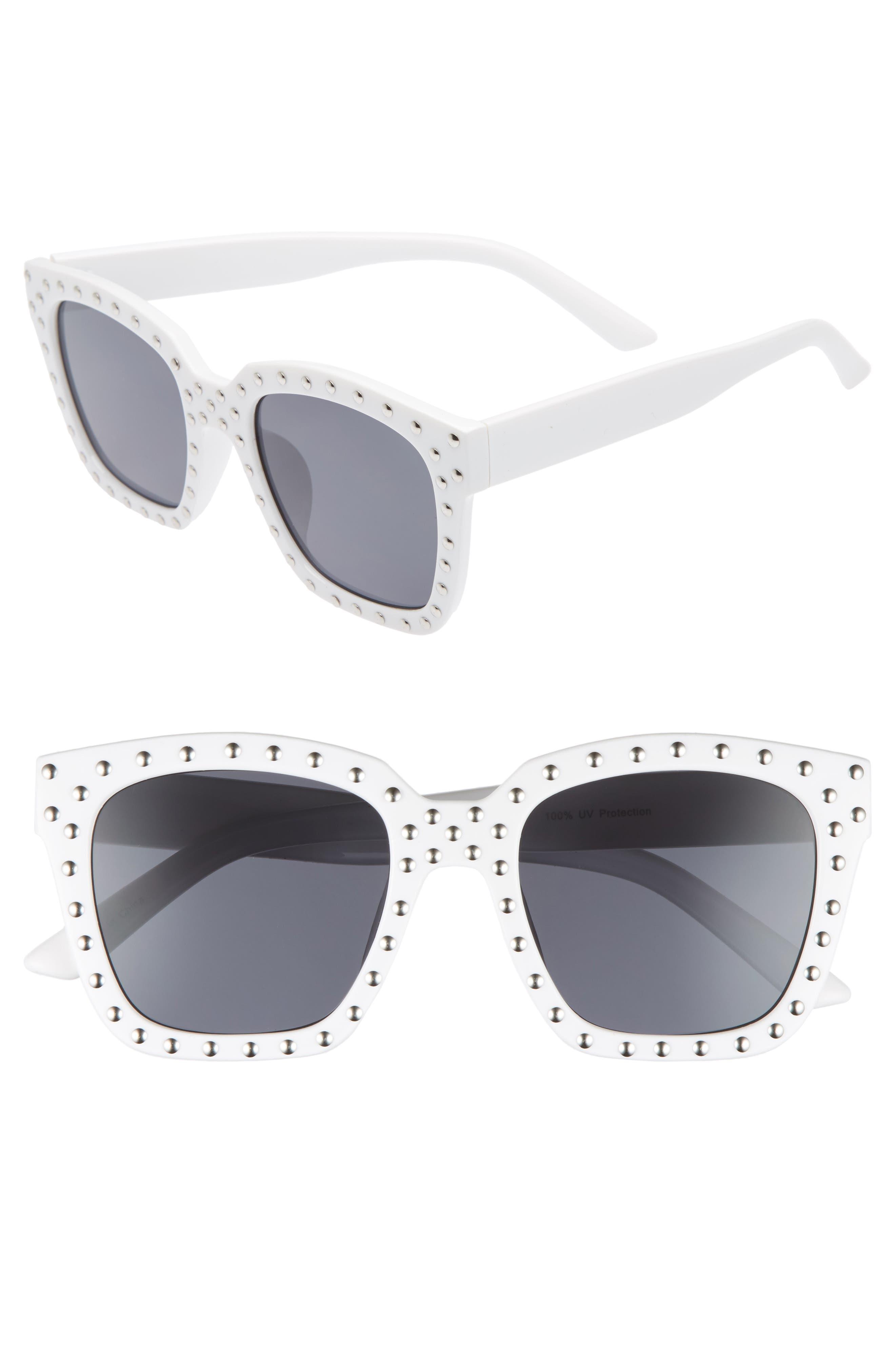 Studded Square Sunglasses,                             Main thumbnail 1, color,                             WHITE/ SILVER