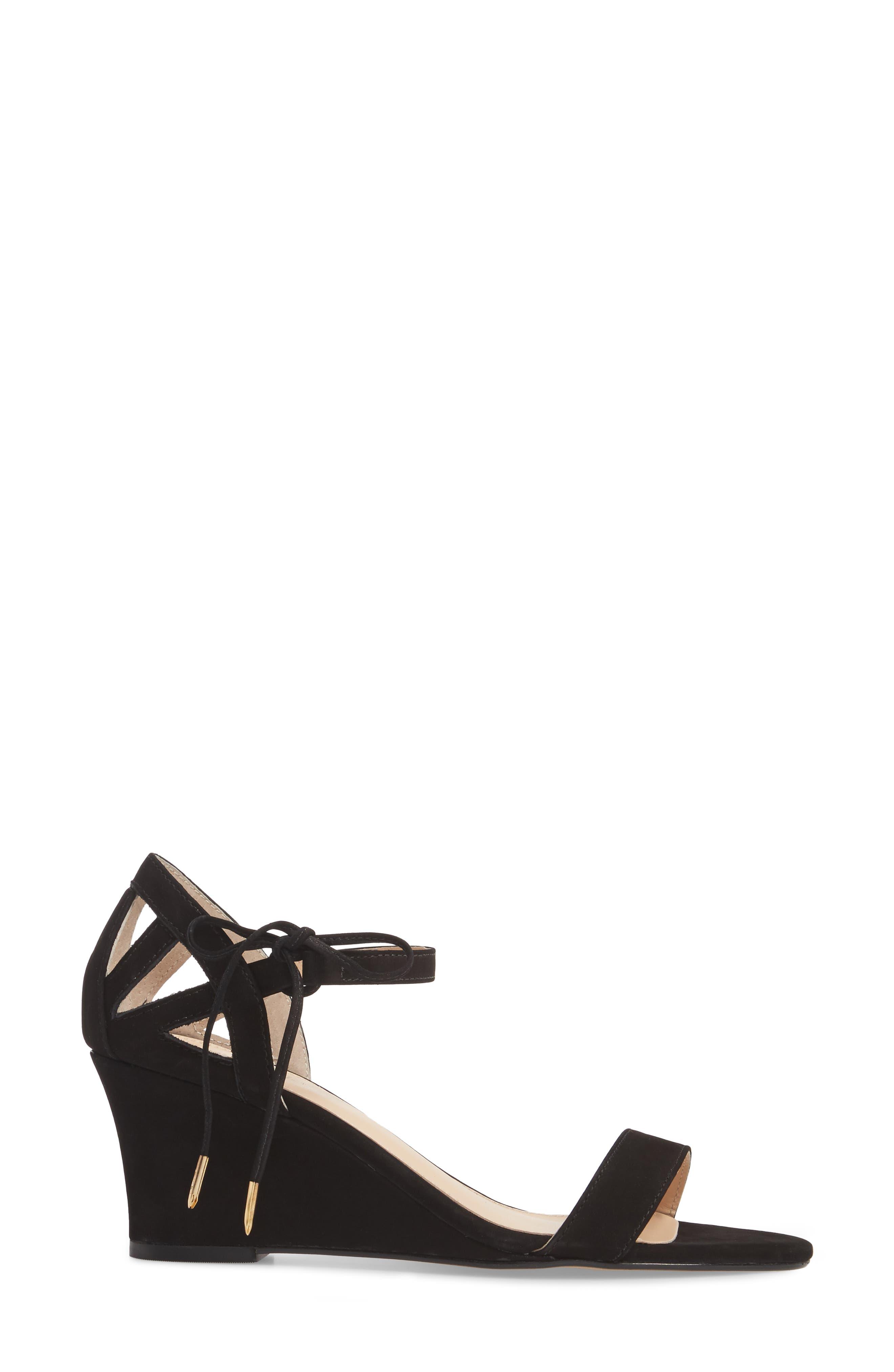 Kaeli Wedge Sandal,                             Alternate thumbnail 3, color,                             BLACK LEATHER