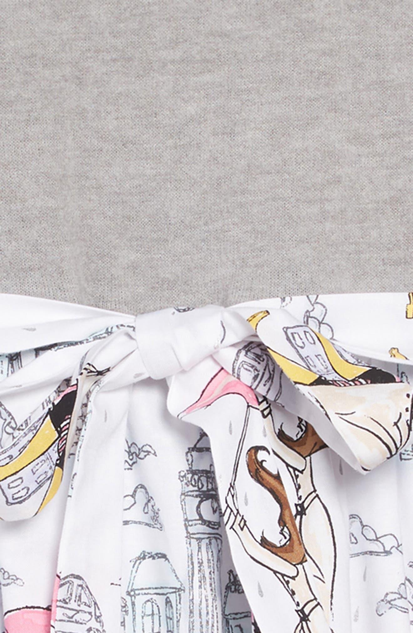 Print Fit & Flare Dress,                             Alternate thumbnail 3, color,                             GREY