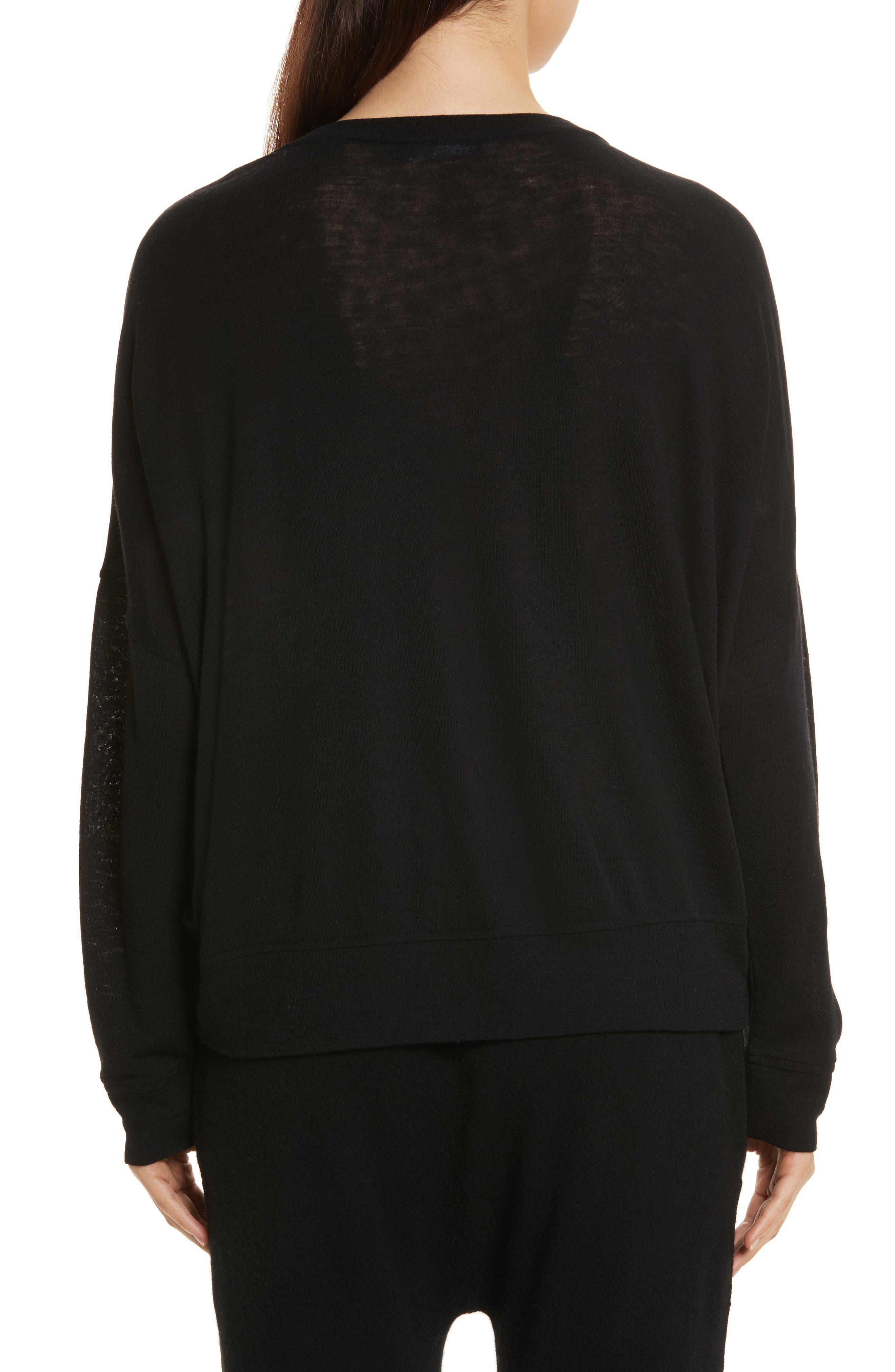 Drop Shoulder V-Neck Sweater,                             Alternate thumbnail 2, color,                             001