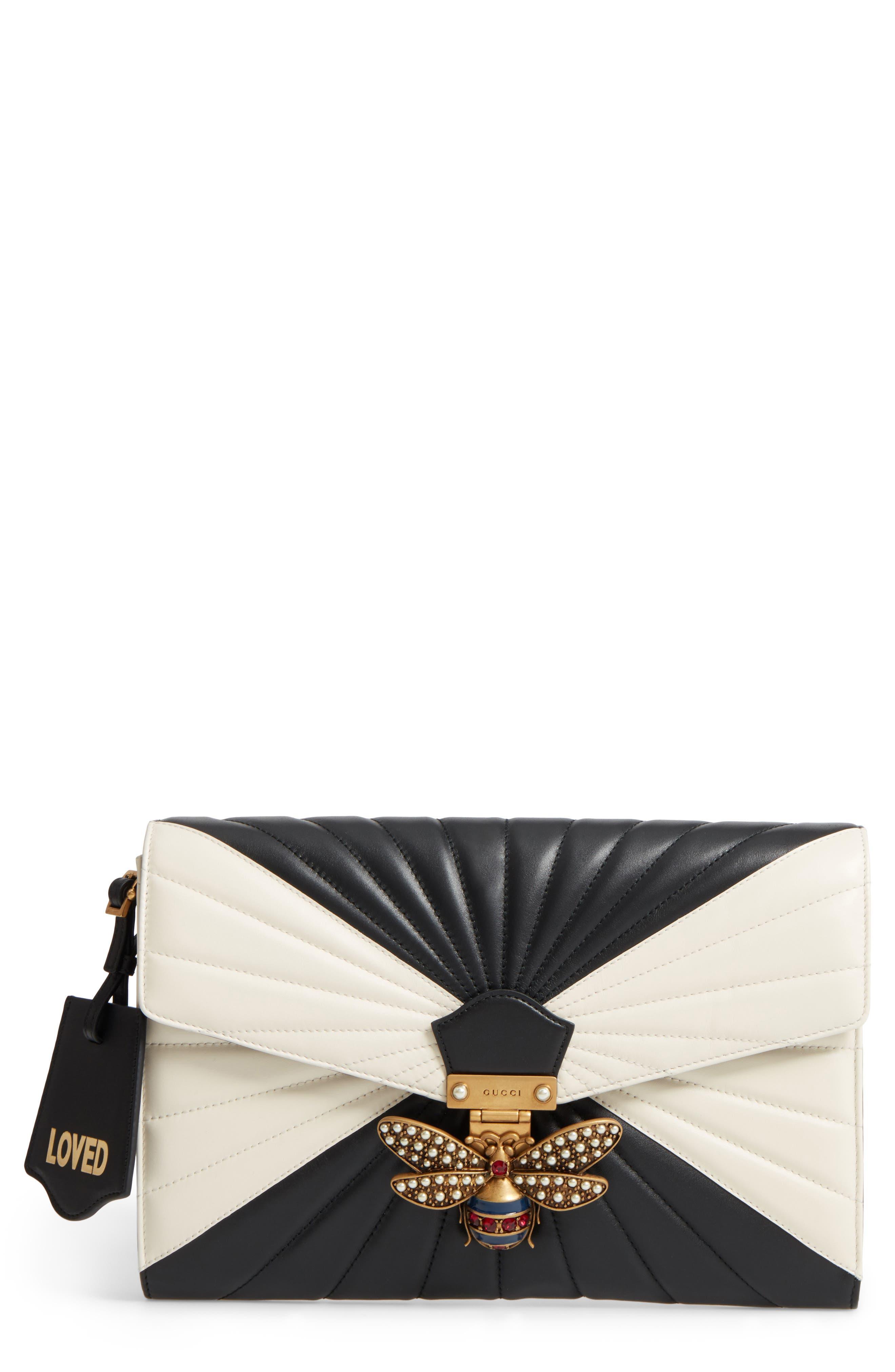 Queen Margaret Matelassé Leather Clutch,                         Main,                         color, 001