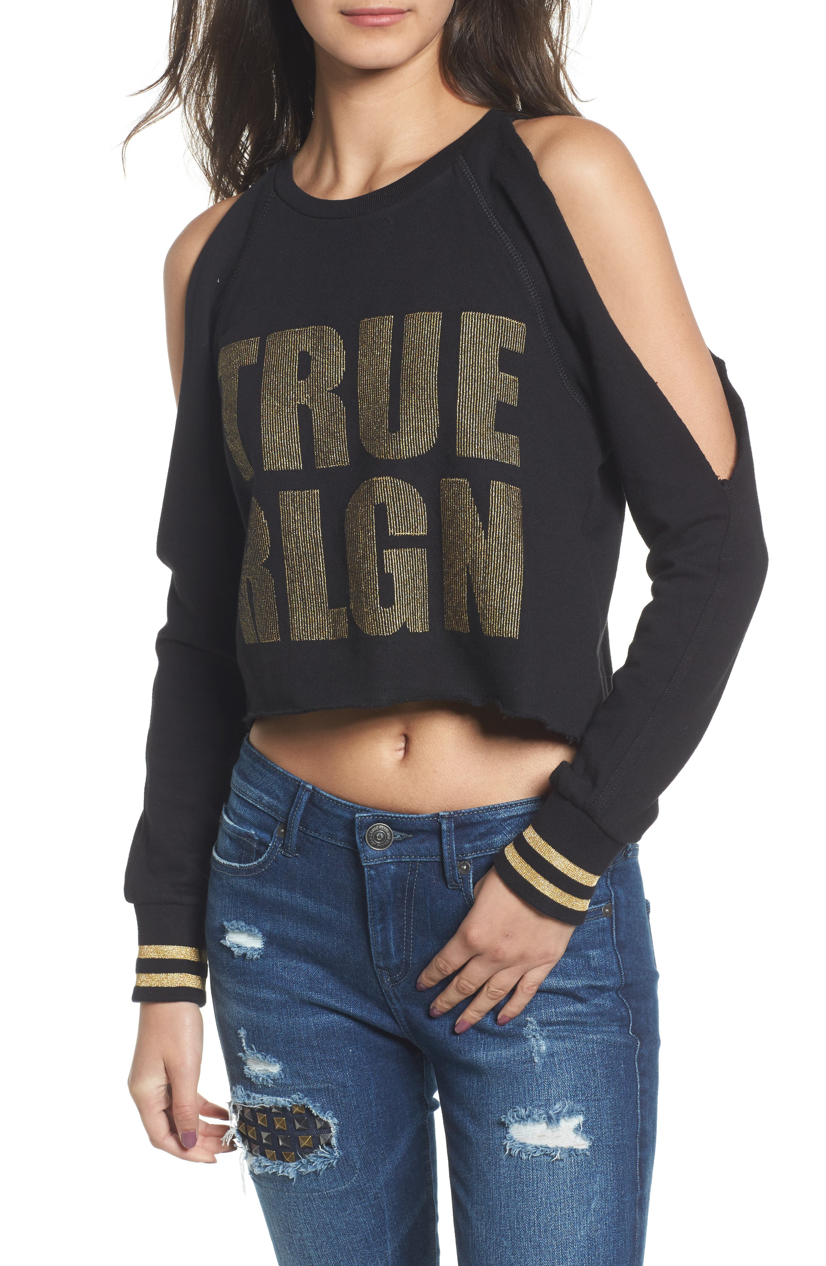 Cold Shoulder Crop Sweatshirt,                             Main thumbnail 1, color,