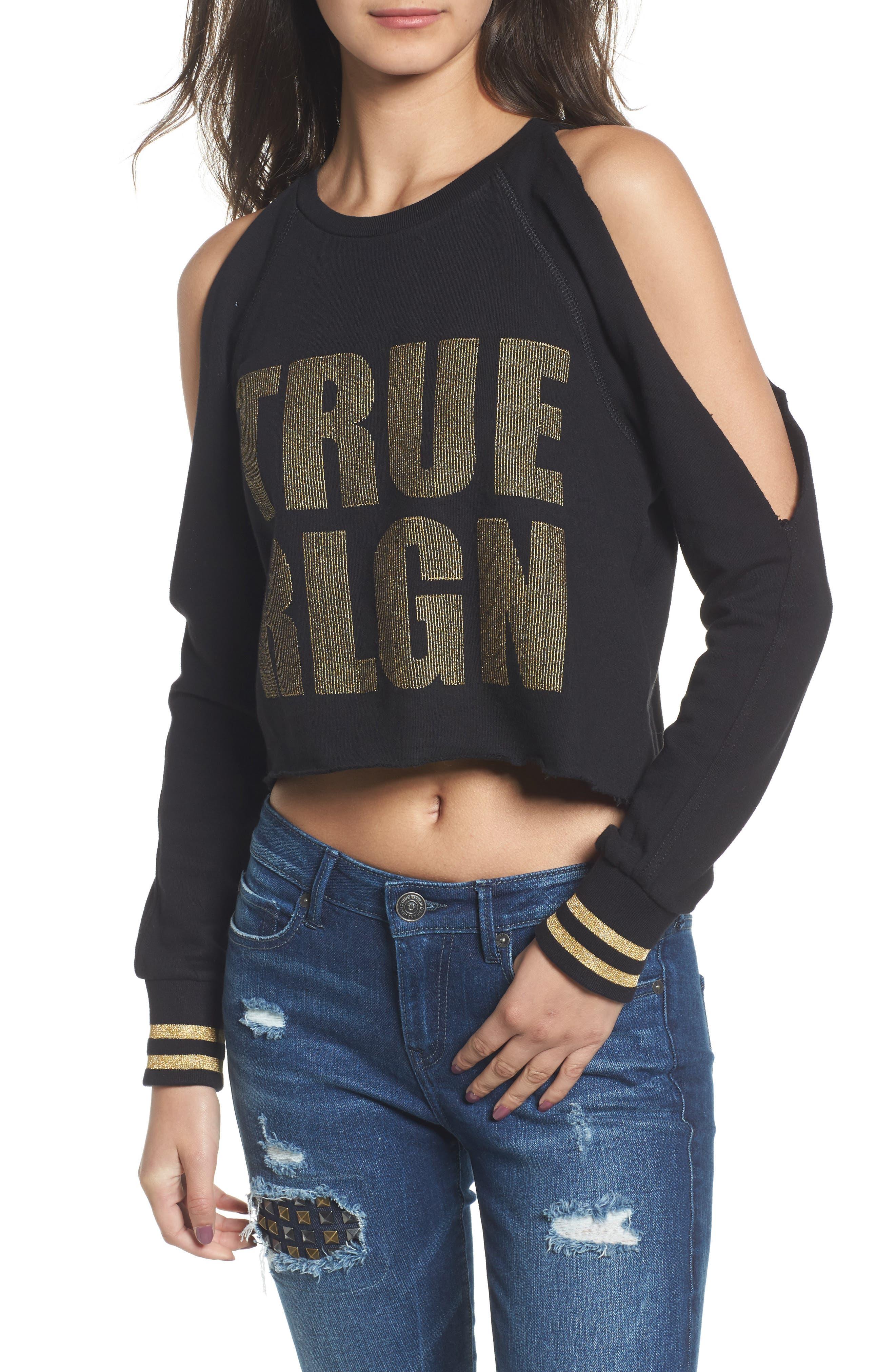 Cold Shoulder Crop Sweatshirt,                         Main,                         color, 001