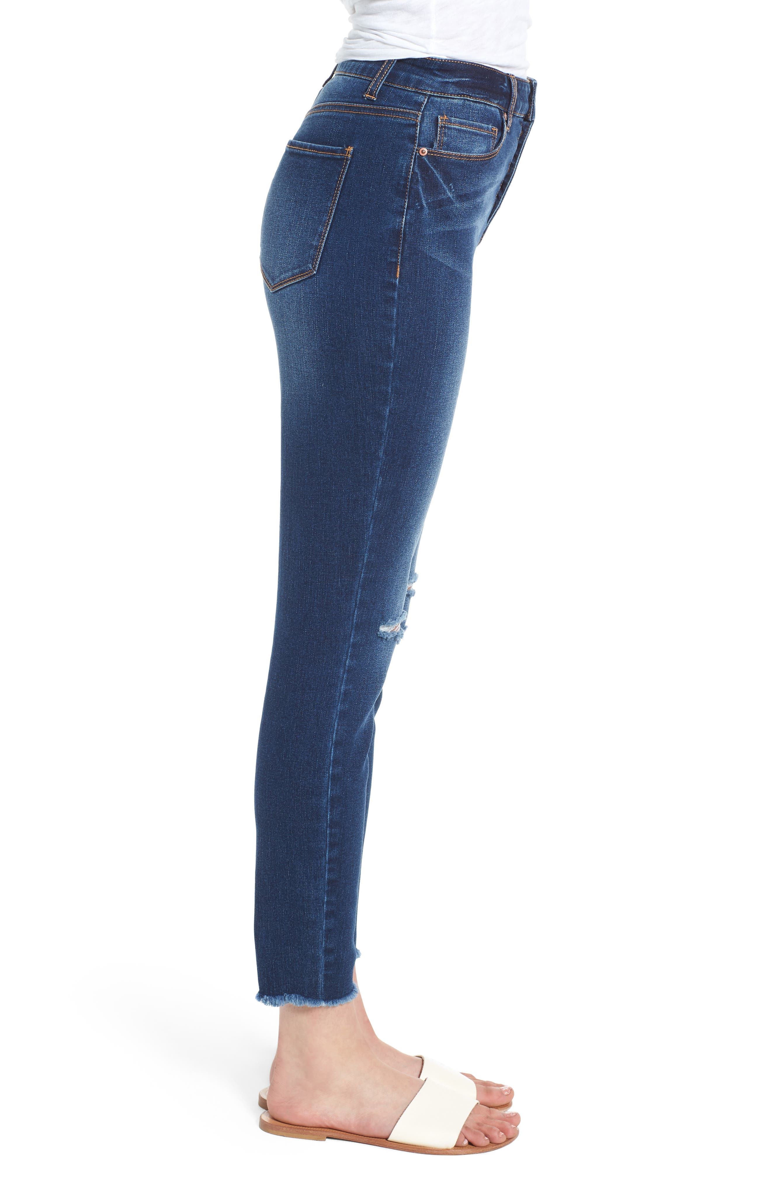 Ripped High Waist Ankle Skinny Jeans,                             Alternate thumbnail 3, color,                             DARK WASH