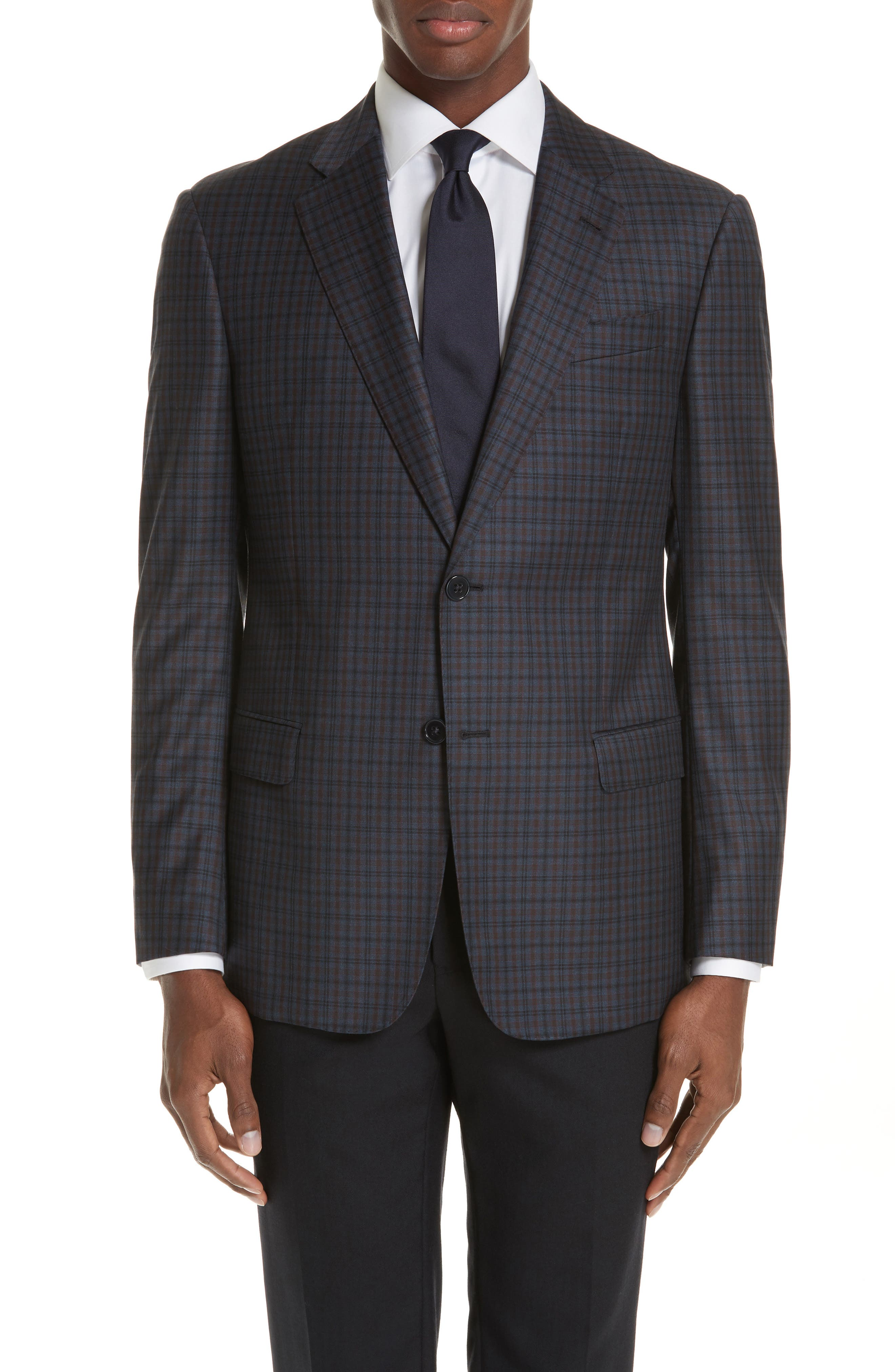 G-Line Trim Fit Check Wool Sport Coat,                         Main,                         color, NAVY