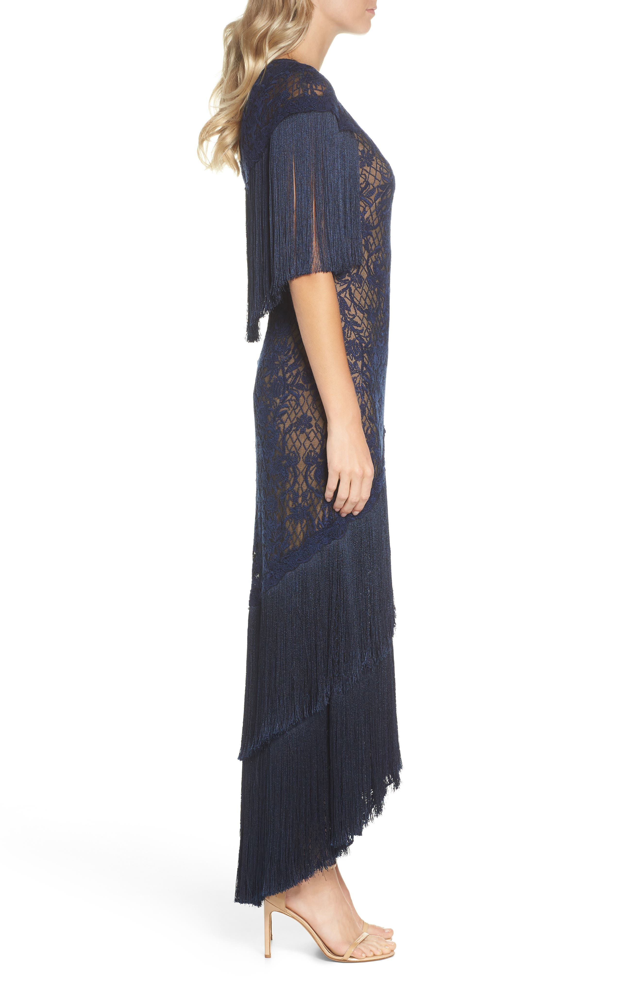 Embroidered Mesh & Fringe Gown,                             Alternate thumbnail 3, color,                             MIDNIGHT/ NUDE