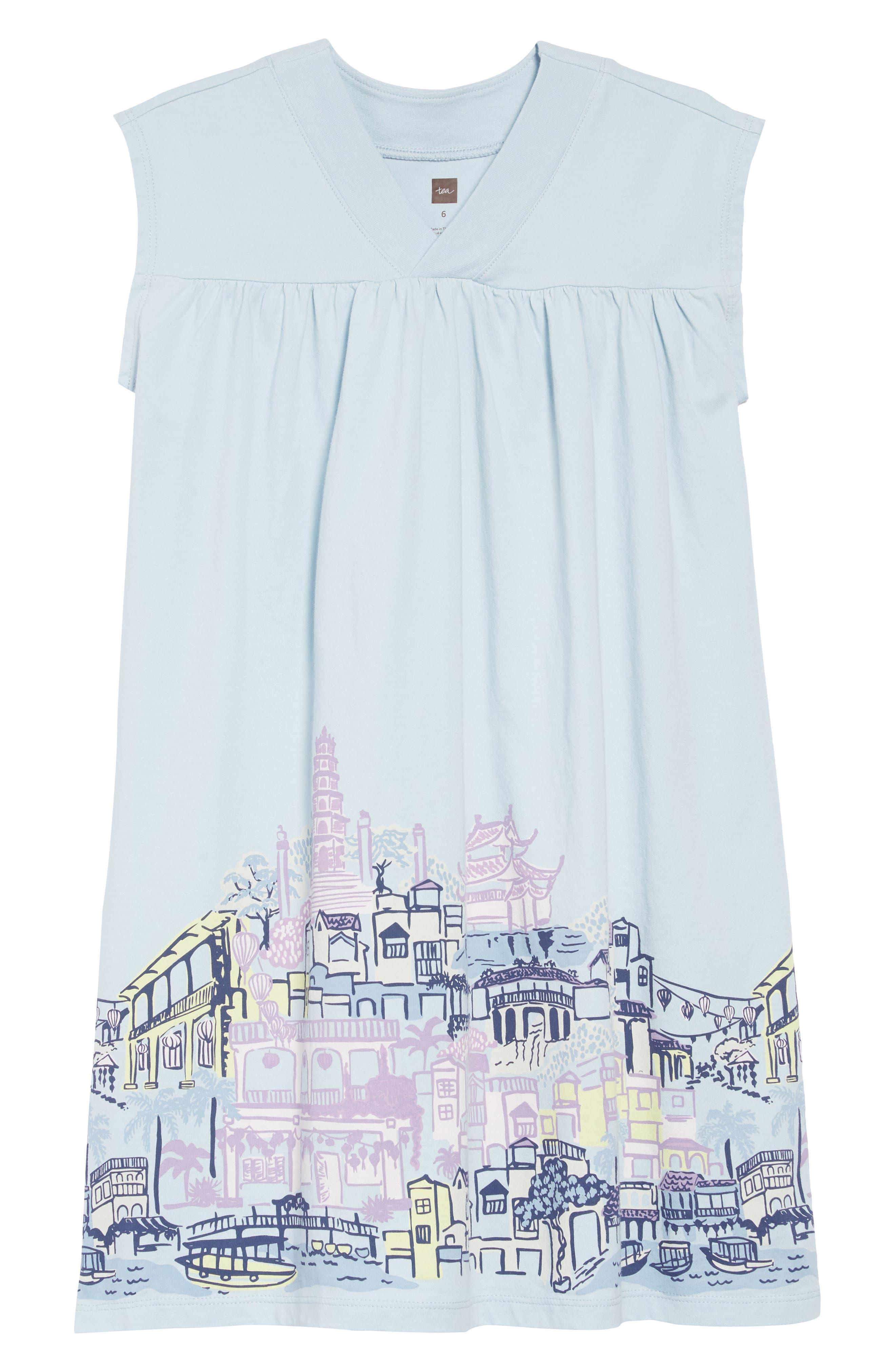 TEA COLLECTION City Graphic Trapeze Dress, Main, color, SKY