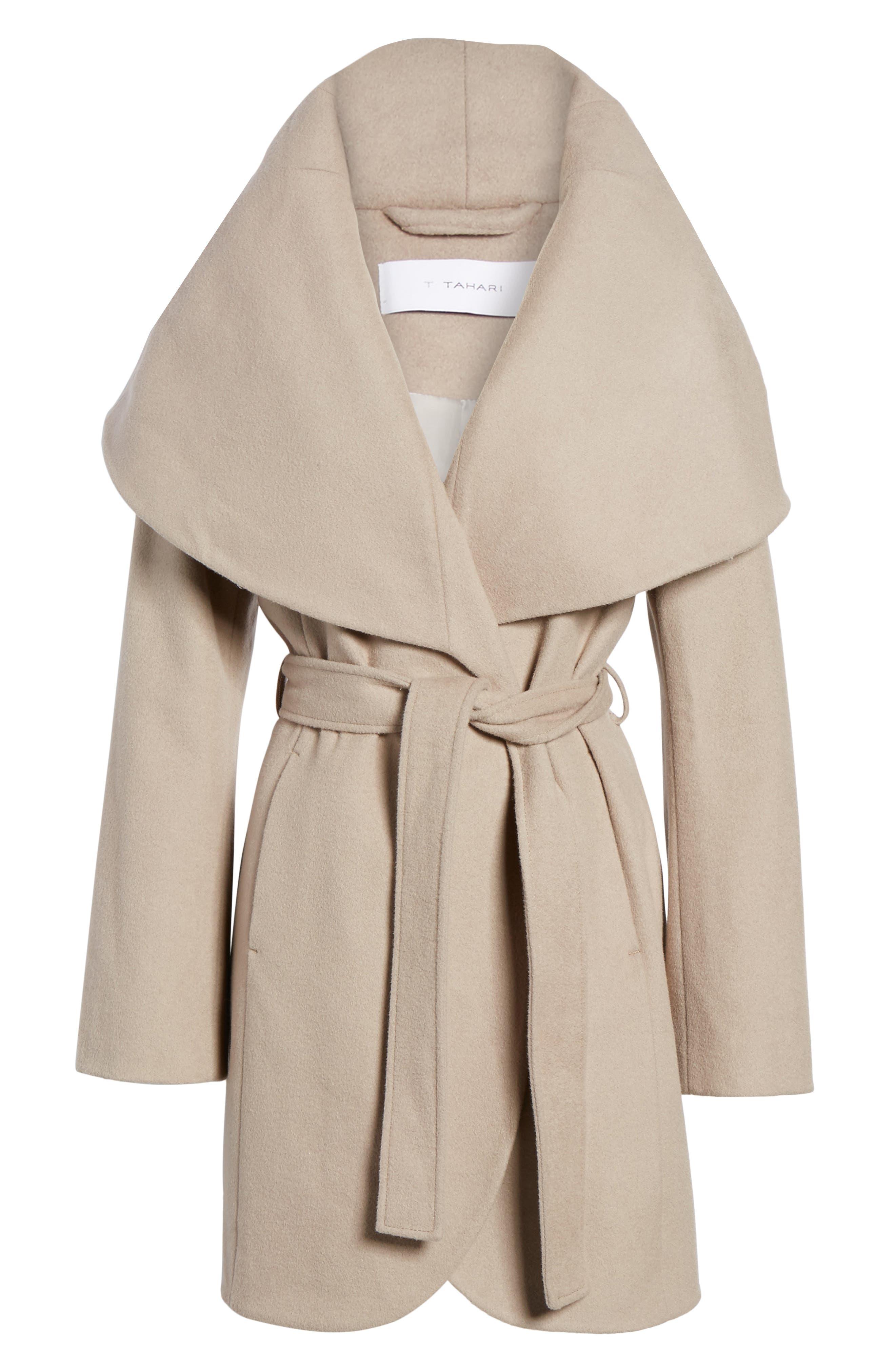 T Tahari Wool Blend Belted Wrap Coat,                             Alternate thumbnail 41, color,