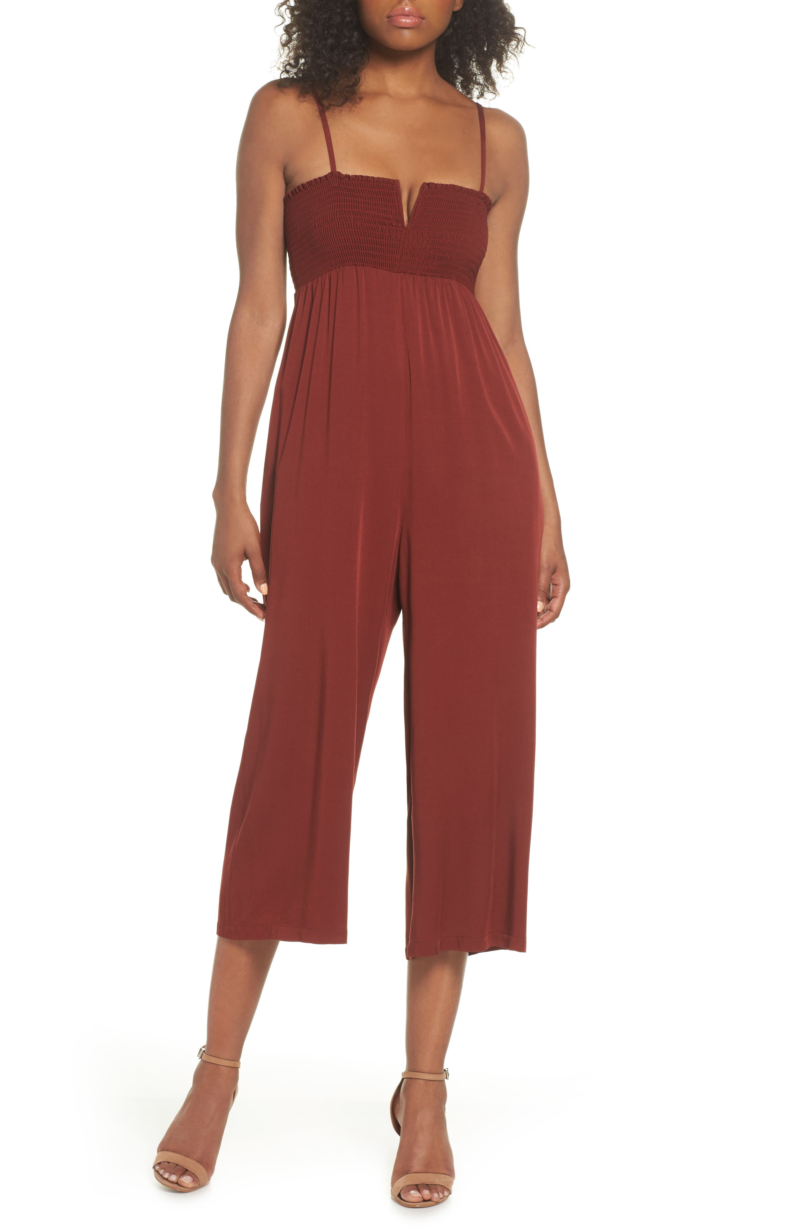 East Smocked Crop Jumpsuit,                             Main thumbnail 1, color,
