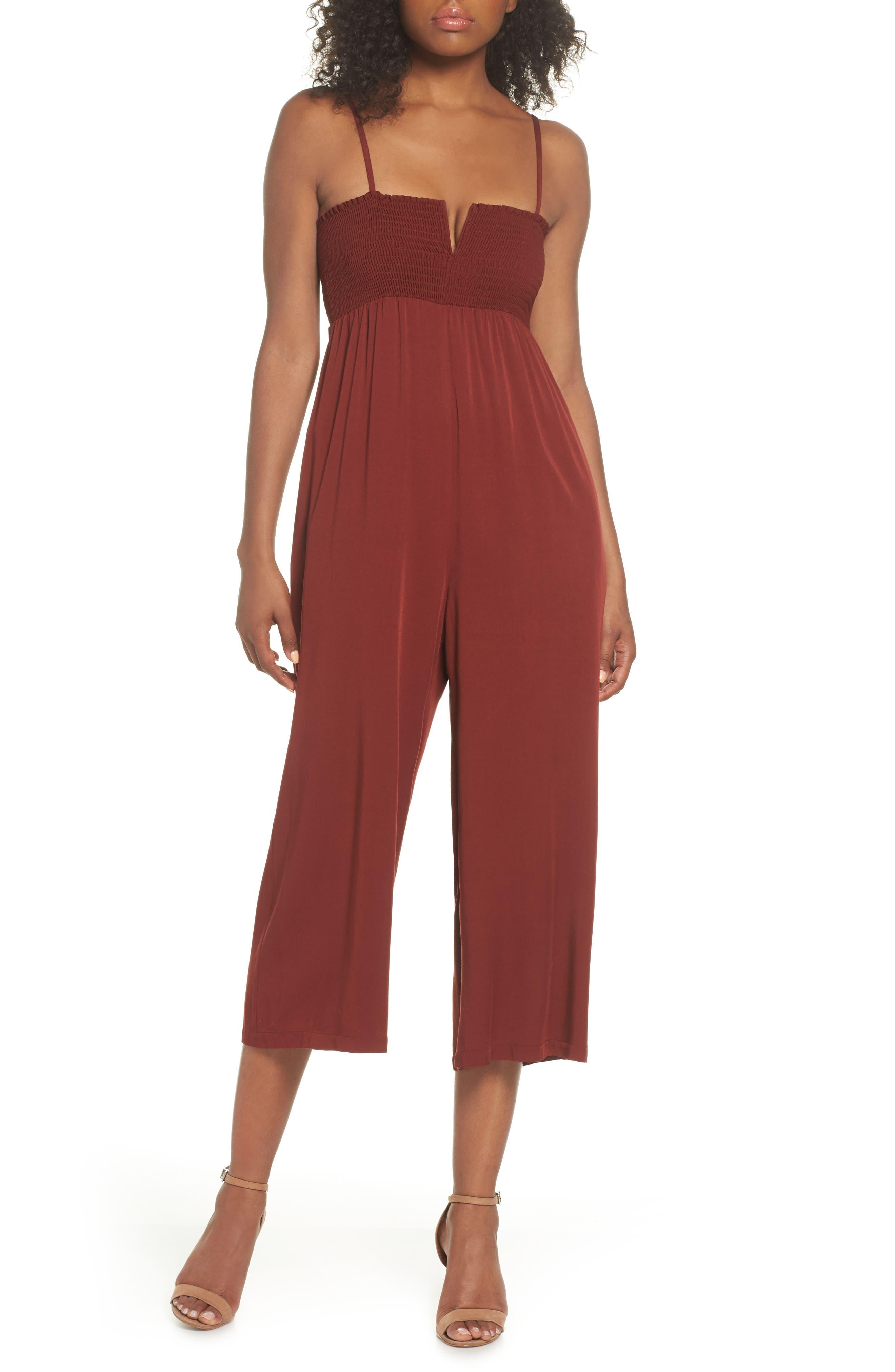 East Smocked Crop Jumpsuit,                         Main,                         color,