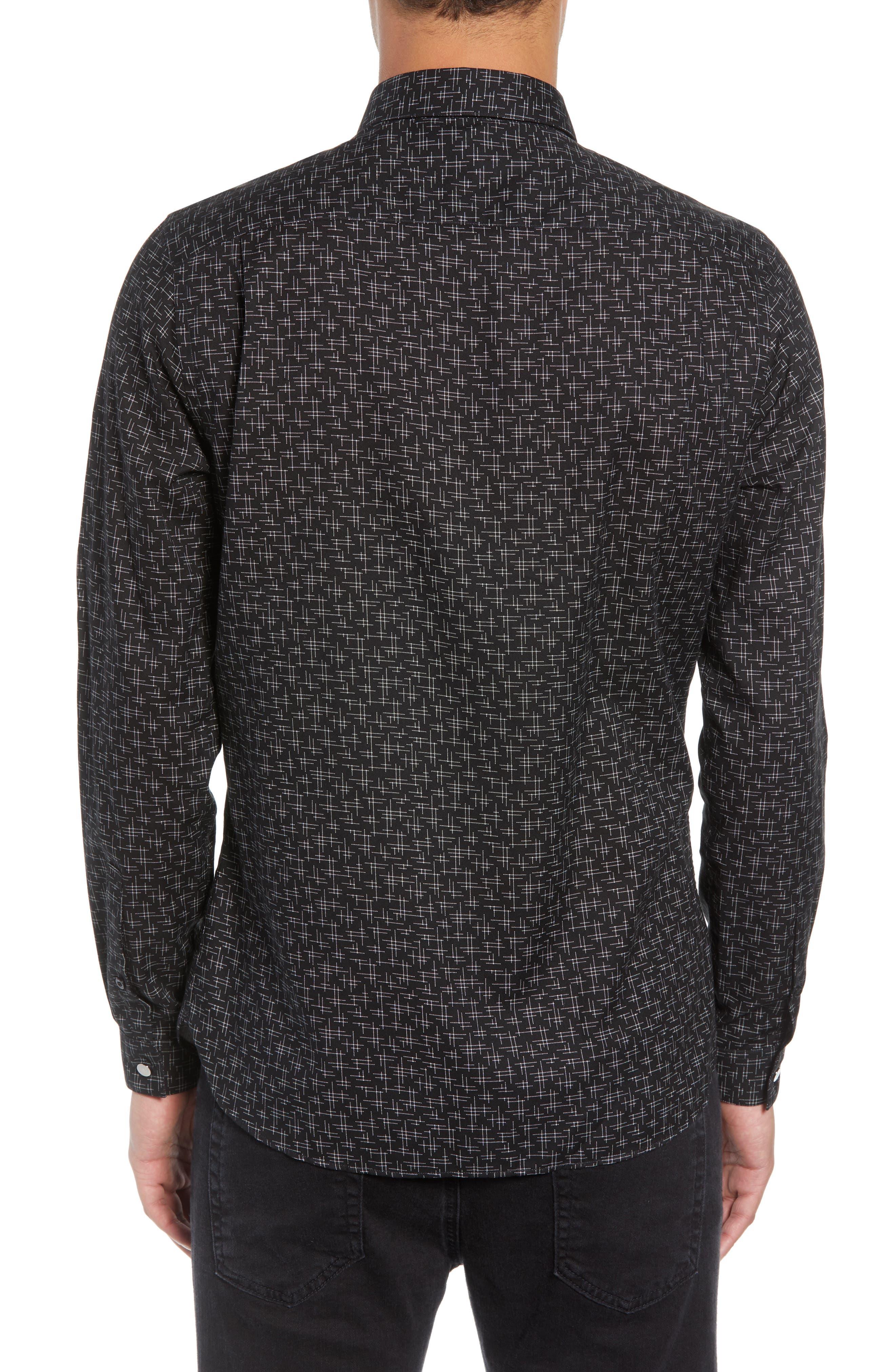 Slim Fit Print Shirt,                             Alternate thumbnail 3, color,                             BLACK/ GREY