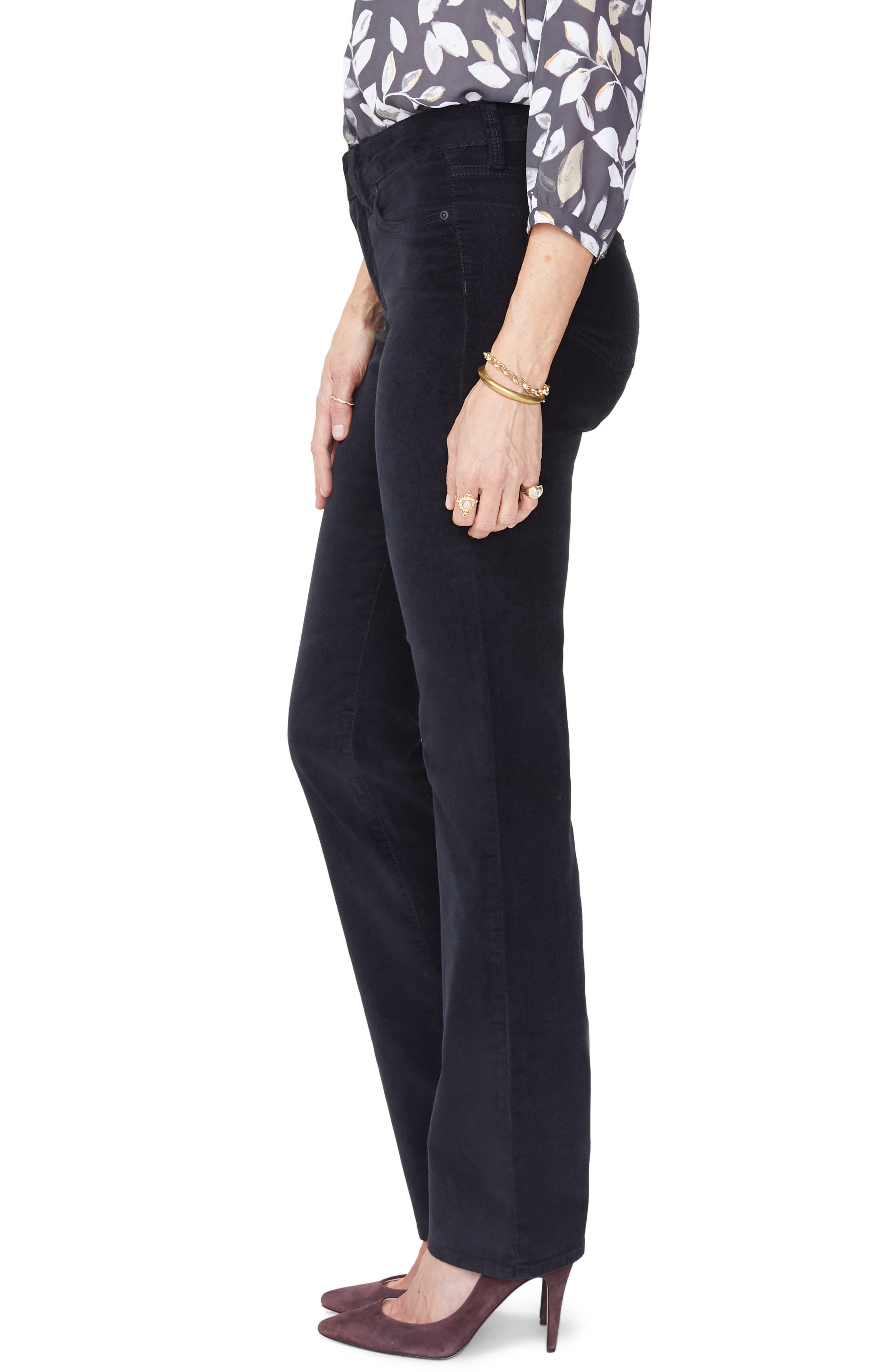 Marilyn Straight Leg Velveteen Pants,                             Alternate thumbnail 3, color,                             BLACK