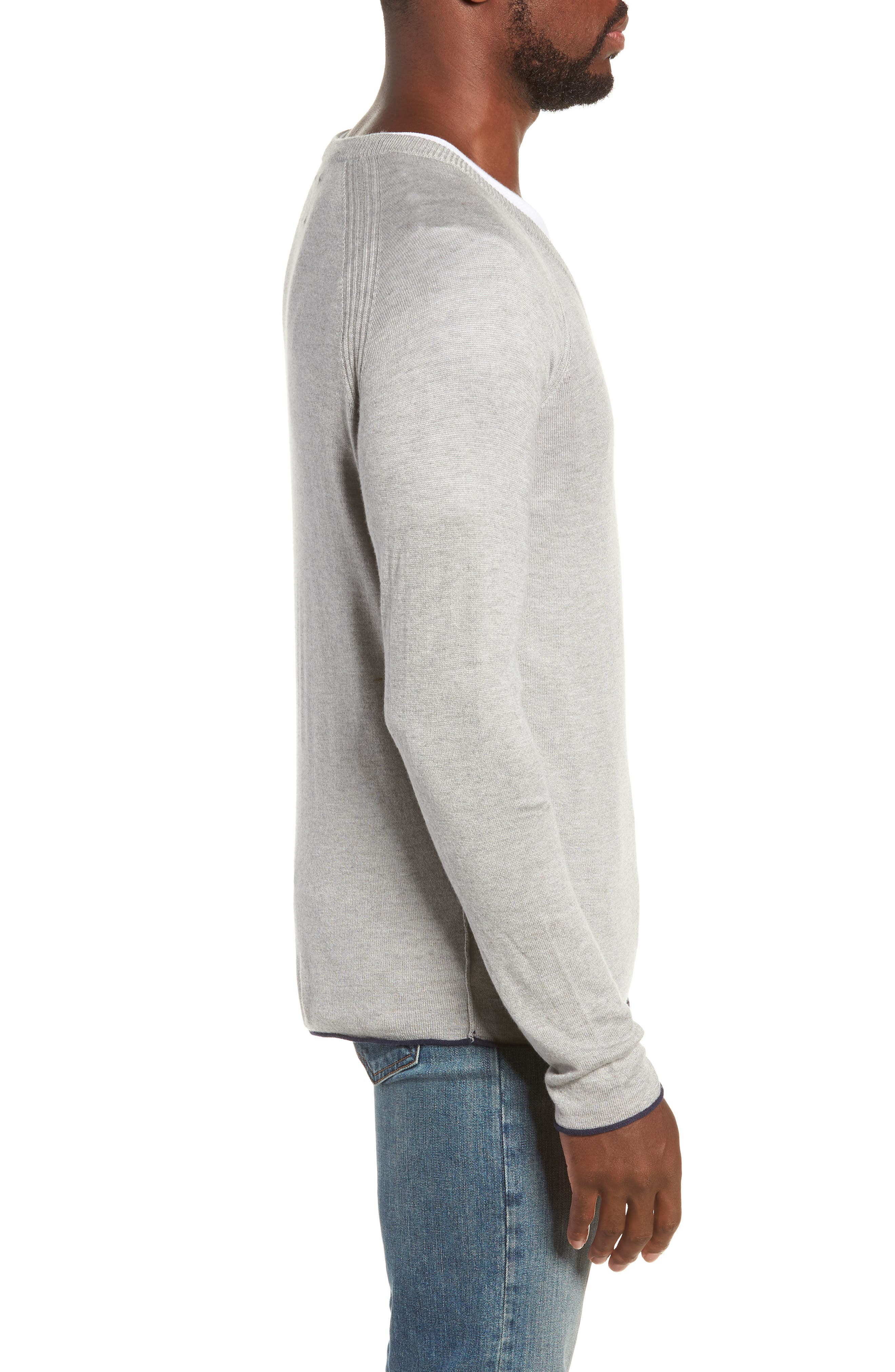 Salinas Cash V-Neck Sweater,                             Alternate thumbnail 3, color,                             GREY HEATHER