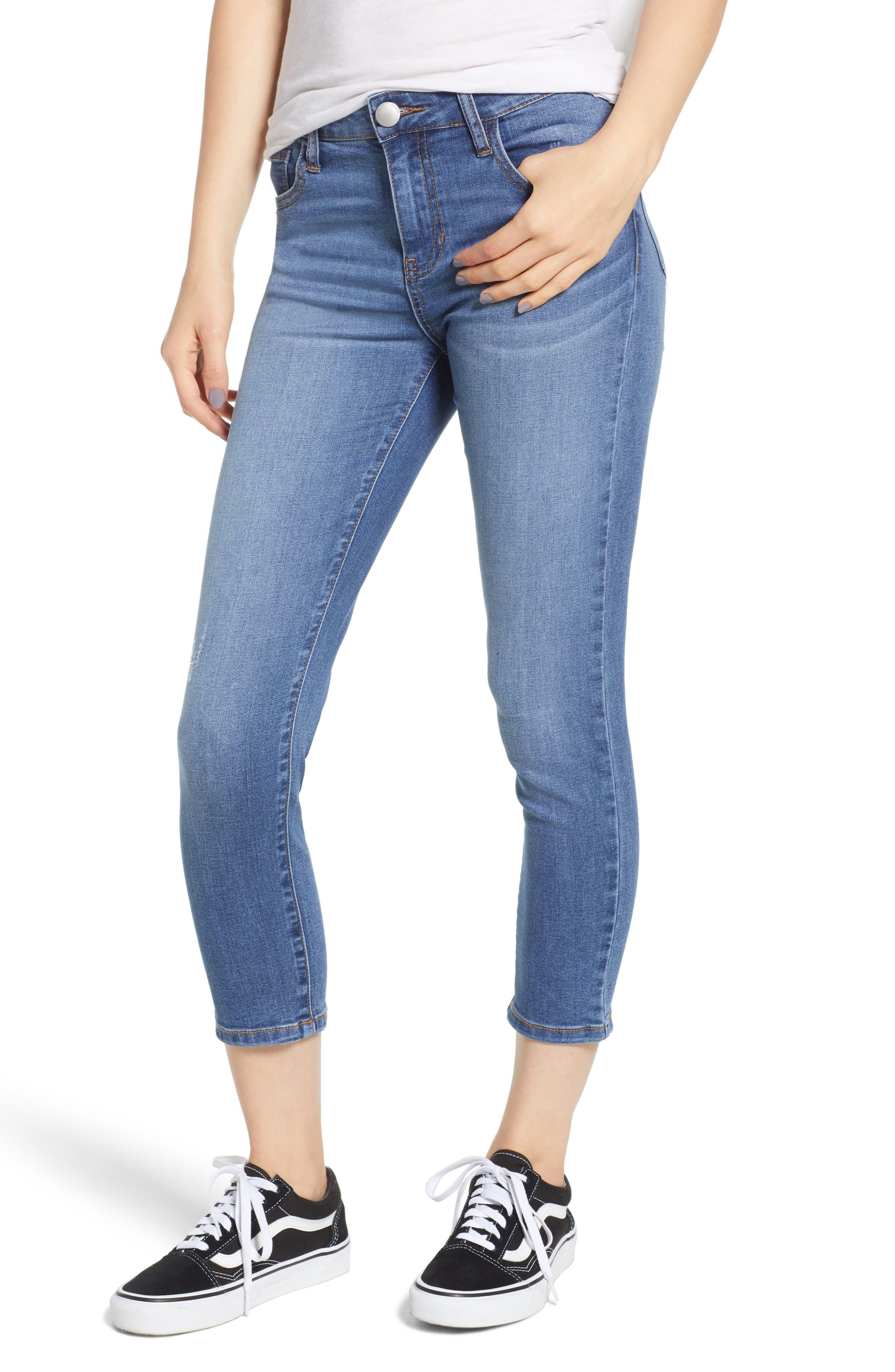 Crop Skinny Jeans,                             Main thumbnail 1, color,                             MEDIUM WASH