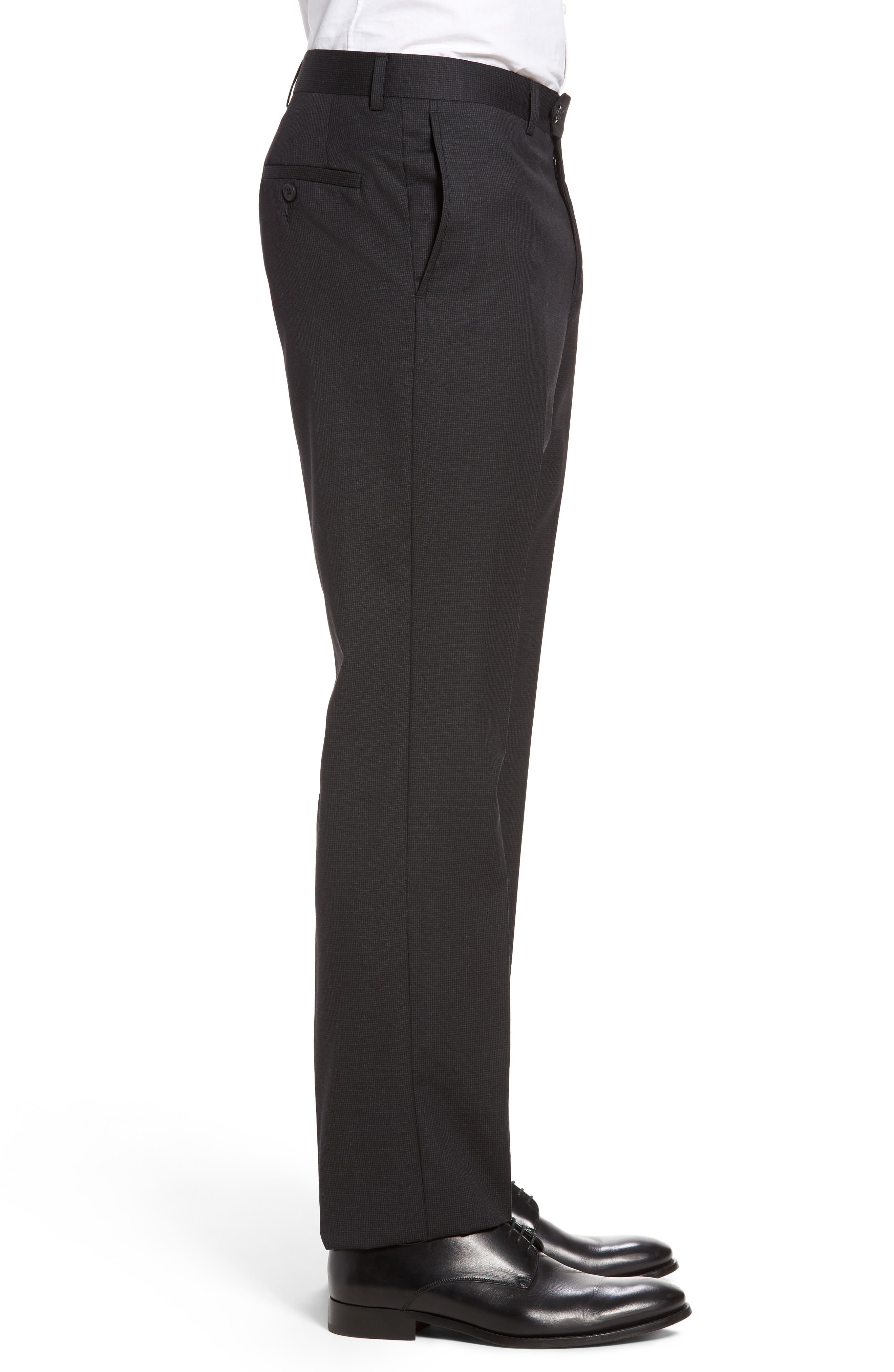 Flat Front Check Wool Trousers,                             Alternate thumbnail 4, color,                             001