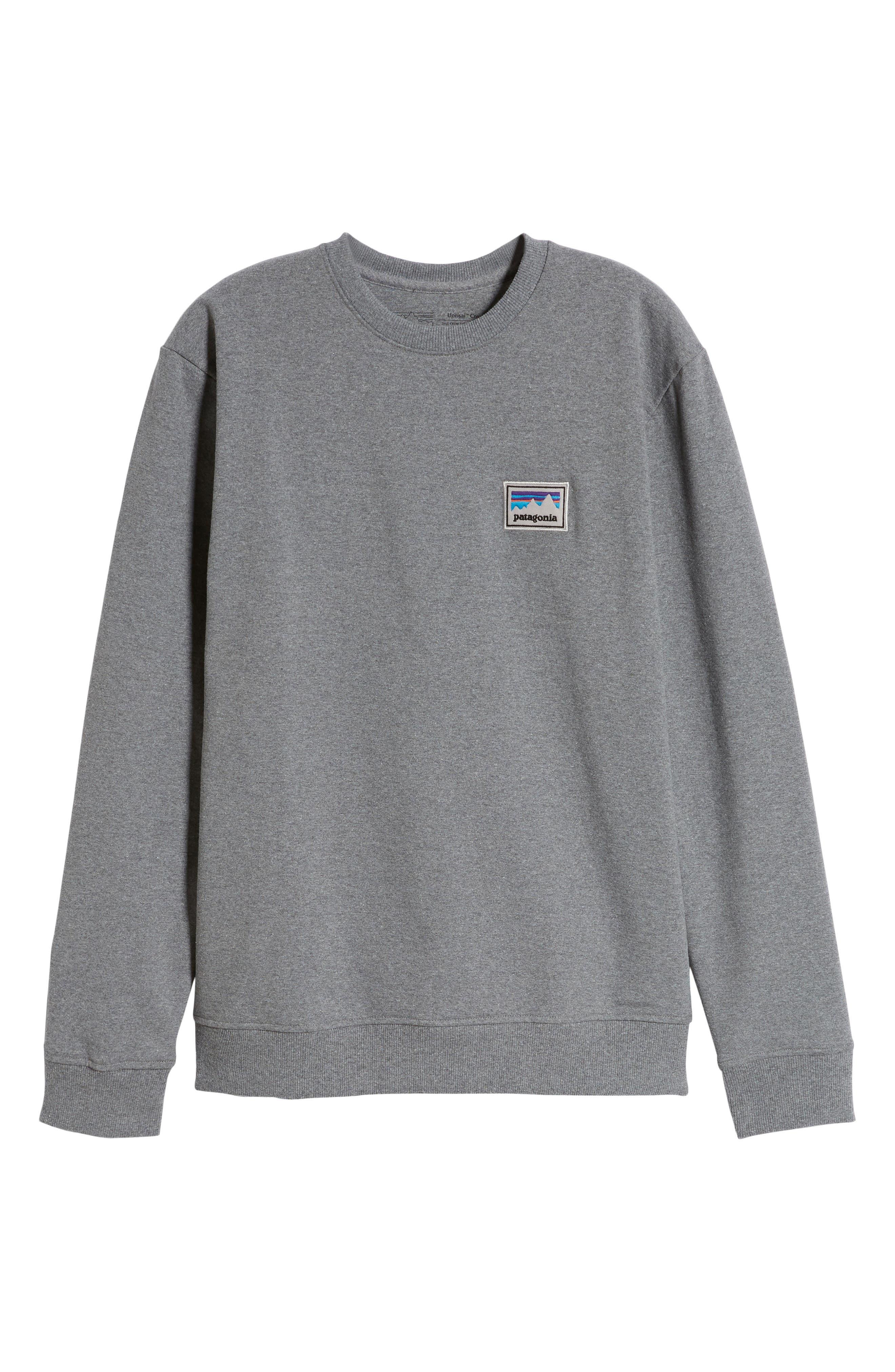 PATAGONIA,                             Shop Sticker Patch Uprisal Crew Sweatshirt,                             Alternate thumbnail 6, color,                             GRAVEL HEATHER