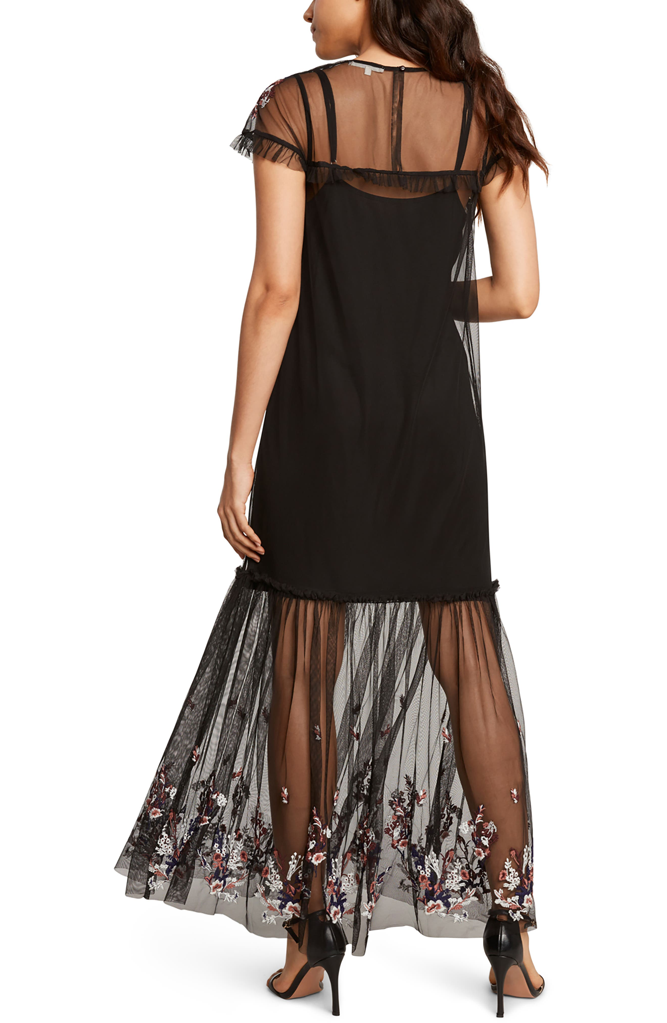 Embroidered Mesh Maxi Dress,                             Alternate thumbnail 2, color,