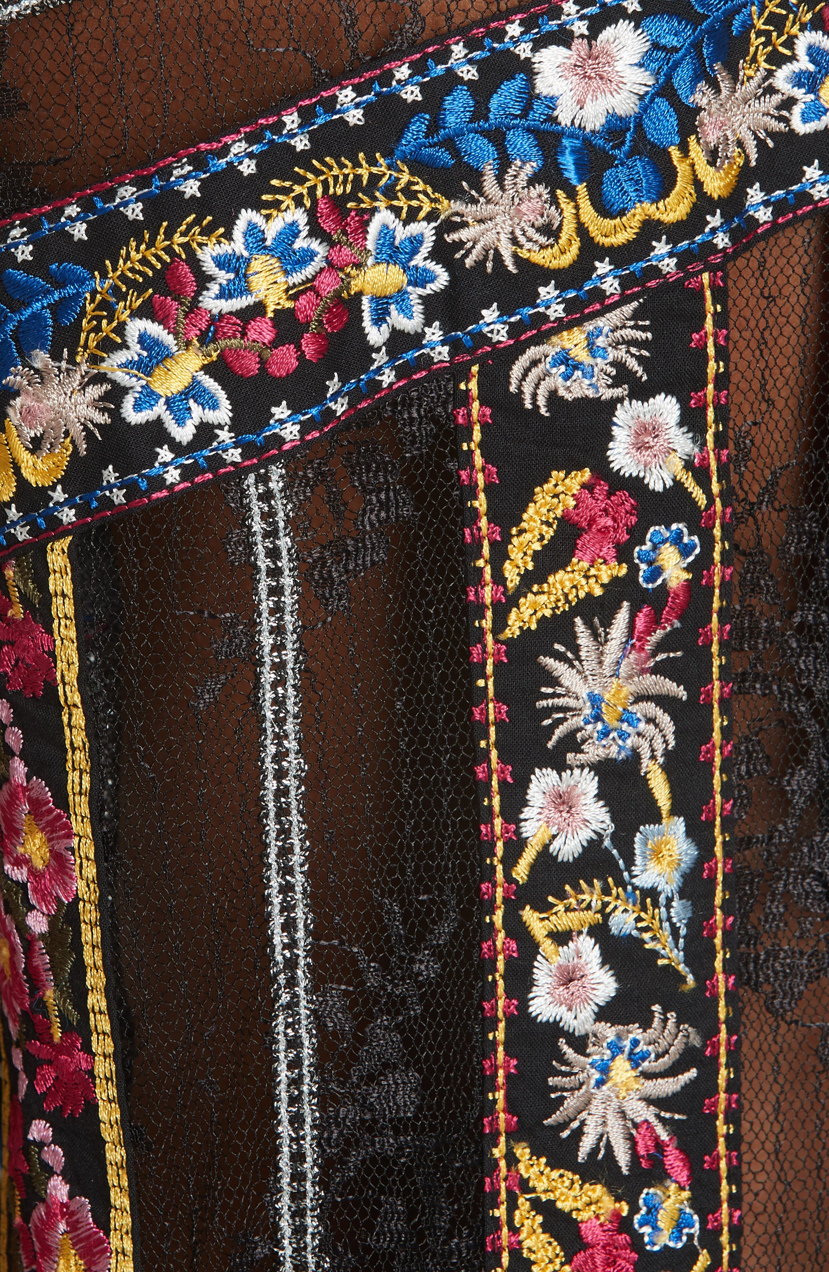 Larue Embroidered Blouse,                             Alternate thumbnail 5, color,                             BLACK/ MULTI