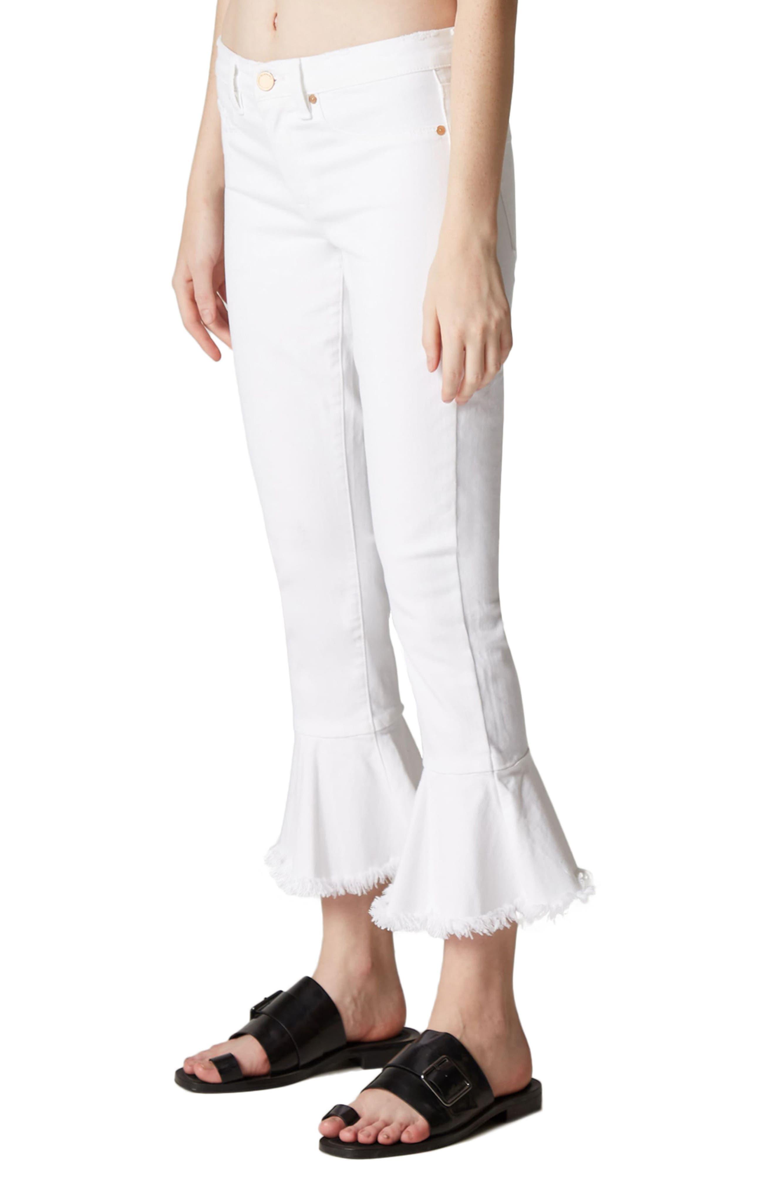Great White Ruffle Hem Jeans,                             Alternate thumbnail 3, color,                             100