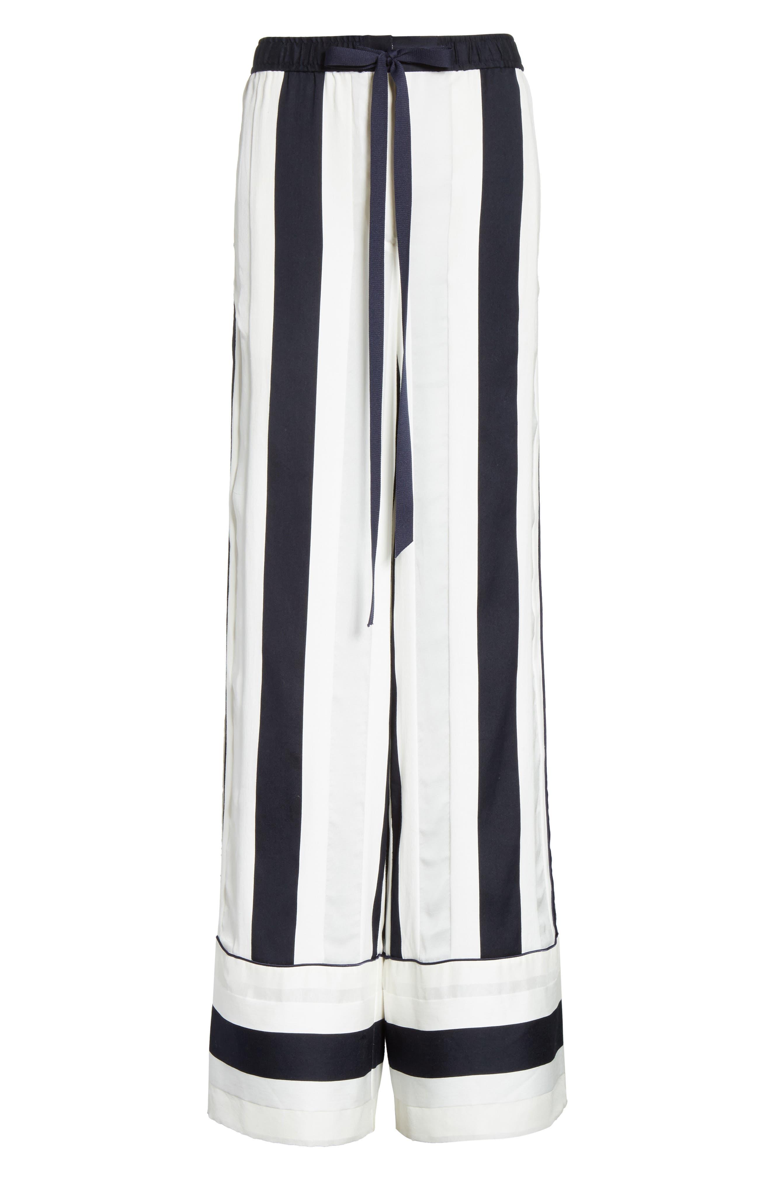 Cotton & Silk Stripe Jacquard Wide Leg Pants,                             Alternate thumbnail 6, color,