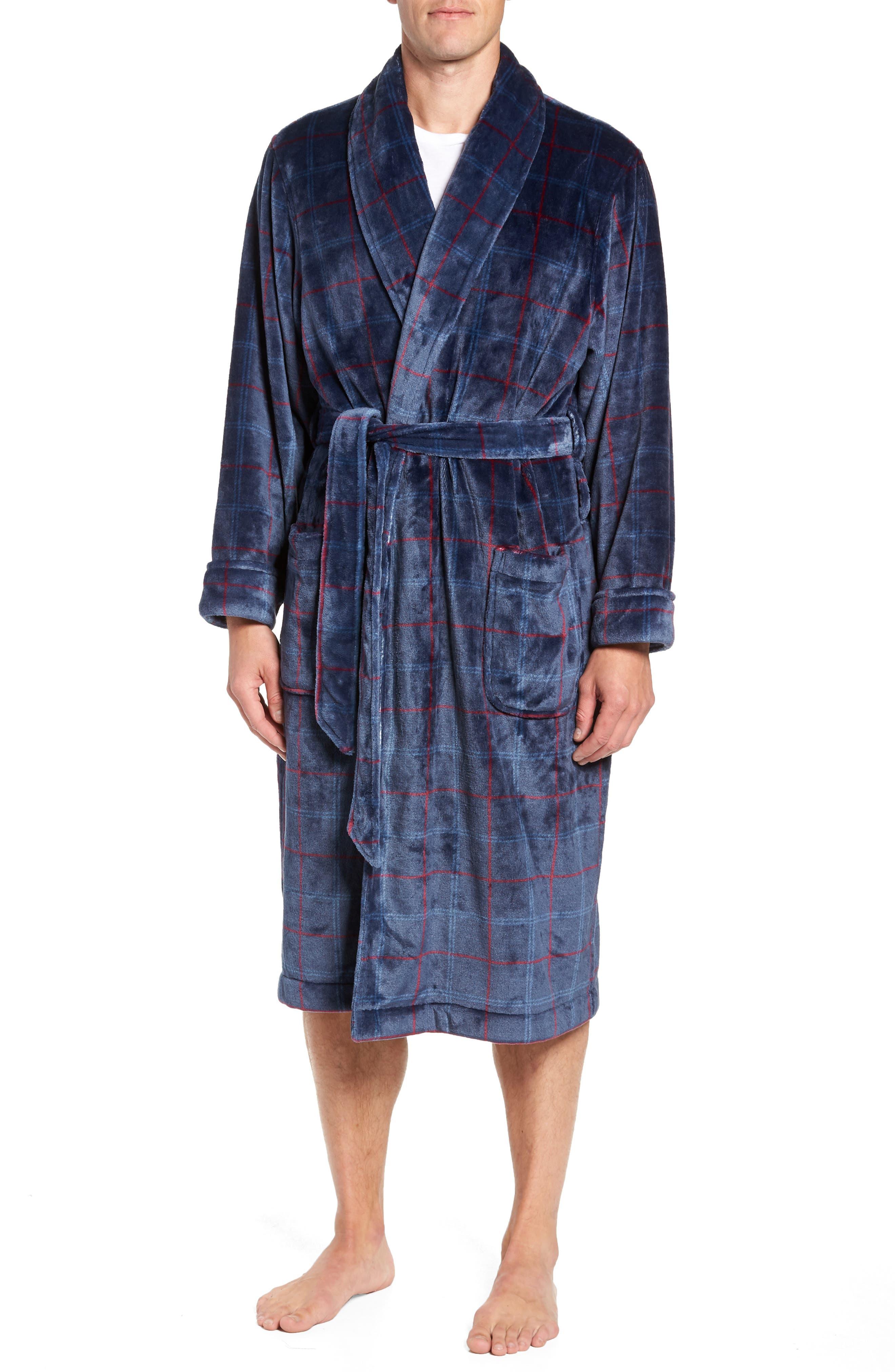 Windowpane Fleece Robe,                             Main thumbnail 1, color,                             NAVY -RED WINDOWPANE