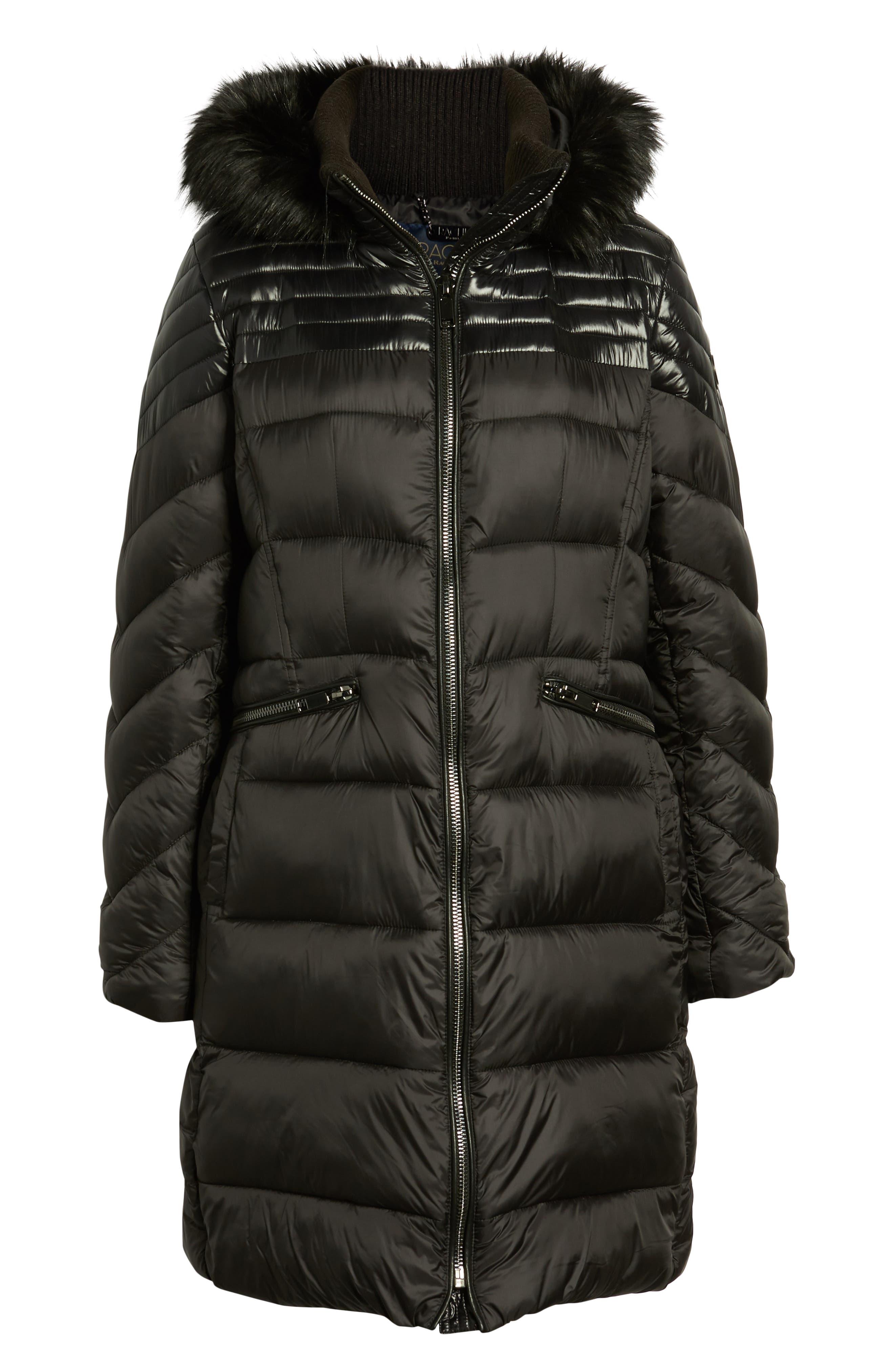 RACHEL RACHEL ROY,                             Faux Fur Detail Water Resistant Puffer Coat,                             Alternate thumbnail 6, color,                             BLACK