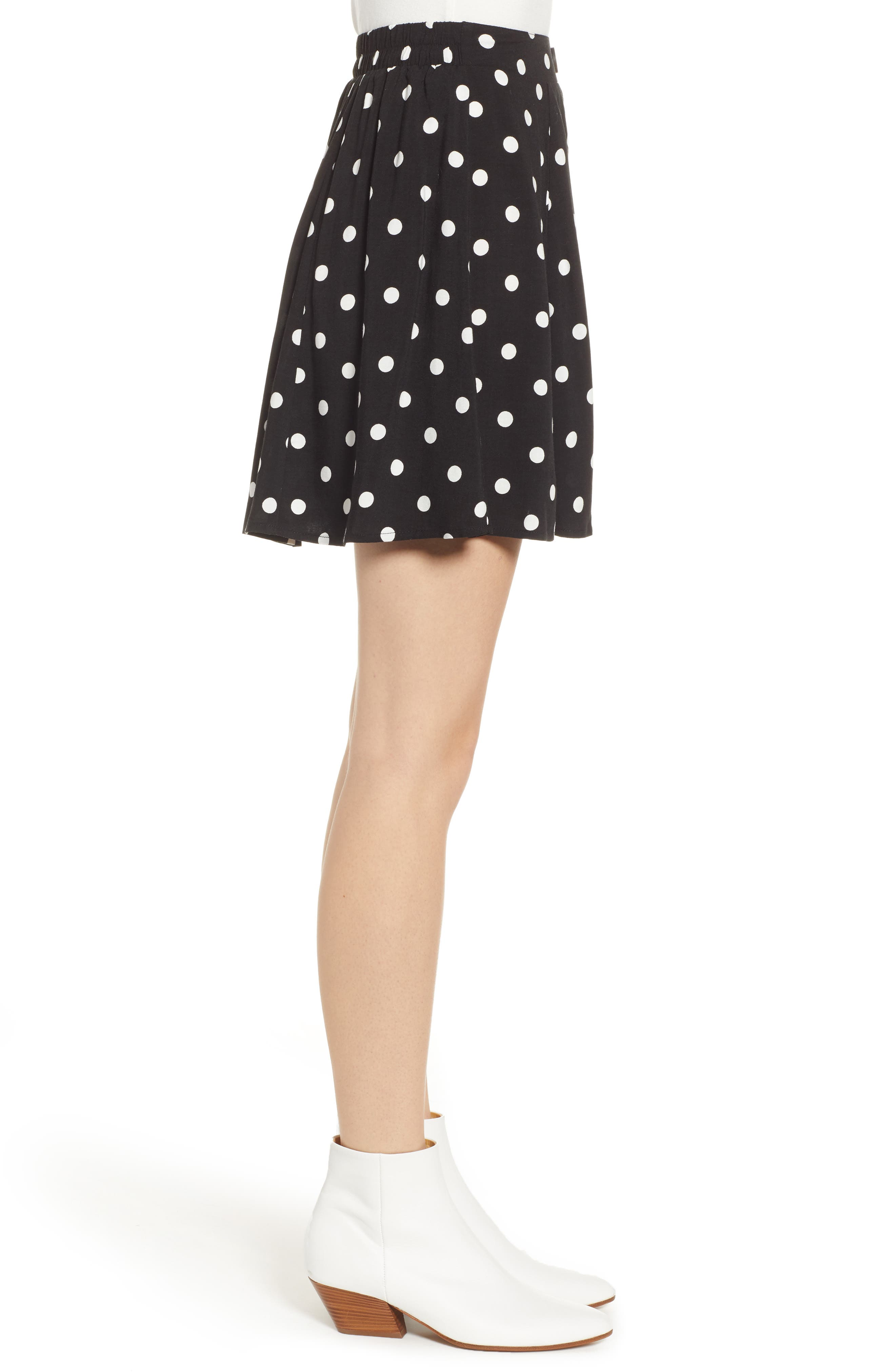 Button Front Skirt,                             Alternate thumbnail 3, color,                             BLACK DOT