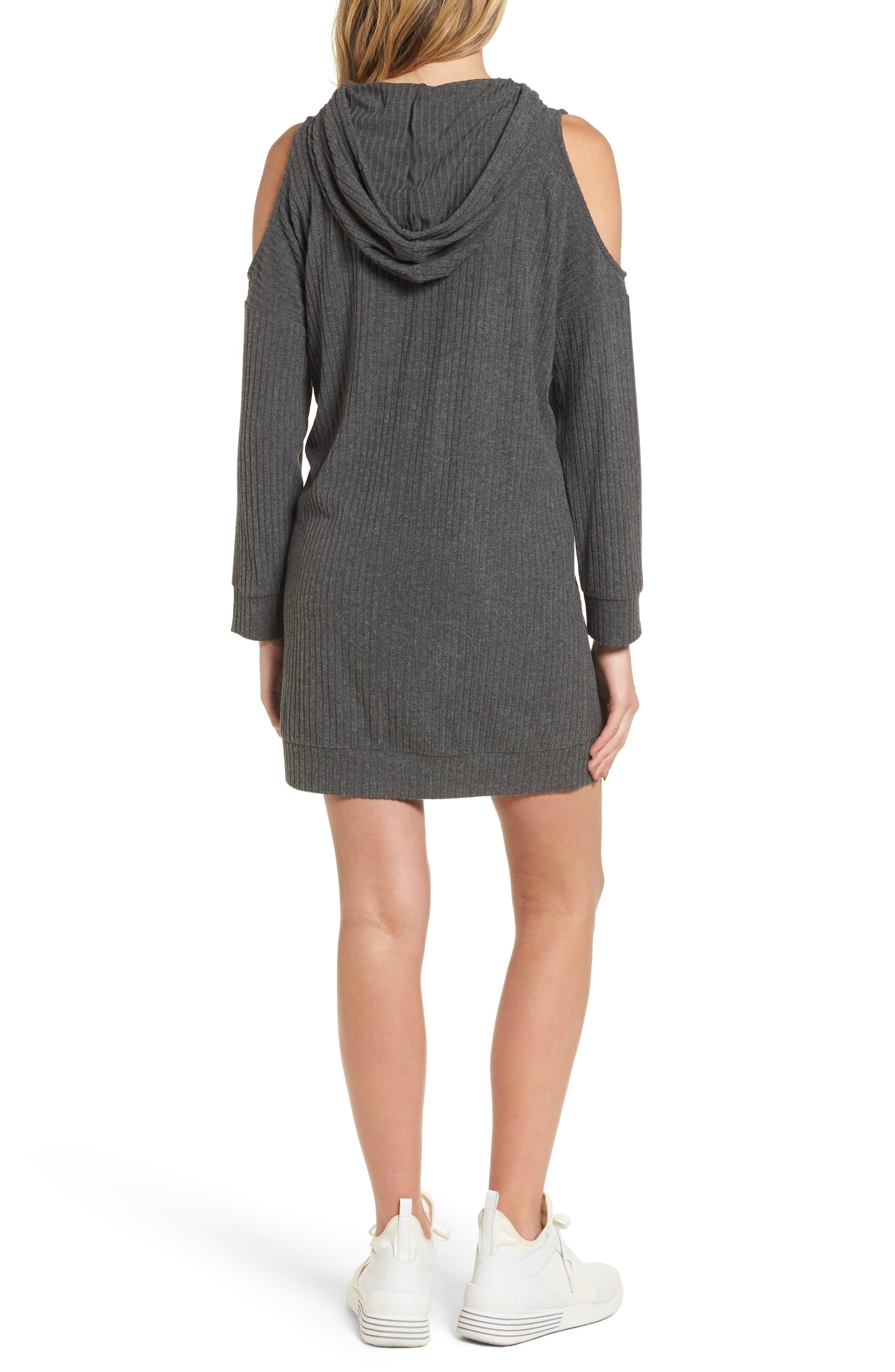 Cold Shoulder Hoodie Dress,                             Alternate thumbnail 2, color,                             020