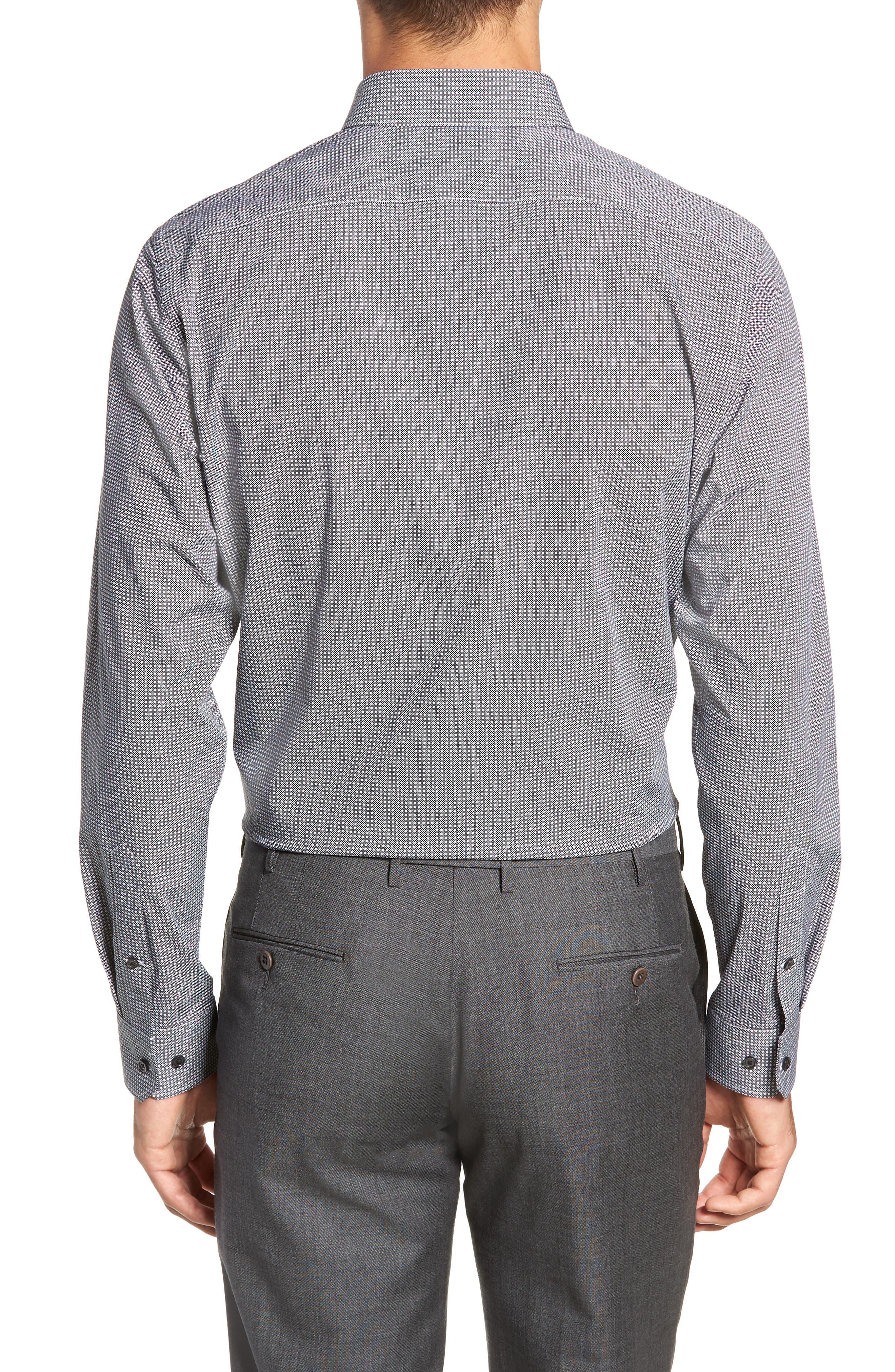 Trim Fit Stretch Non-Iron Geometric Dress Shirt,                             Alternate thumbnail 3, color,                             BLACK ROCK