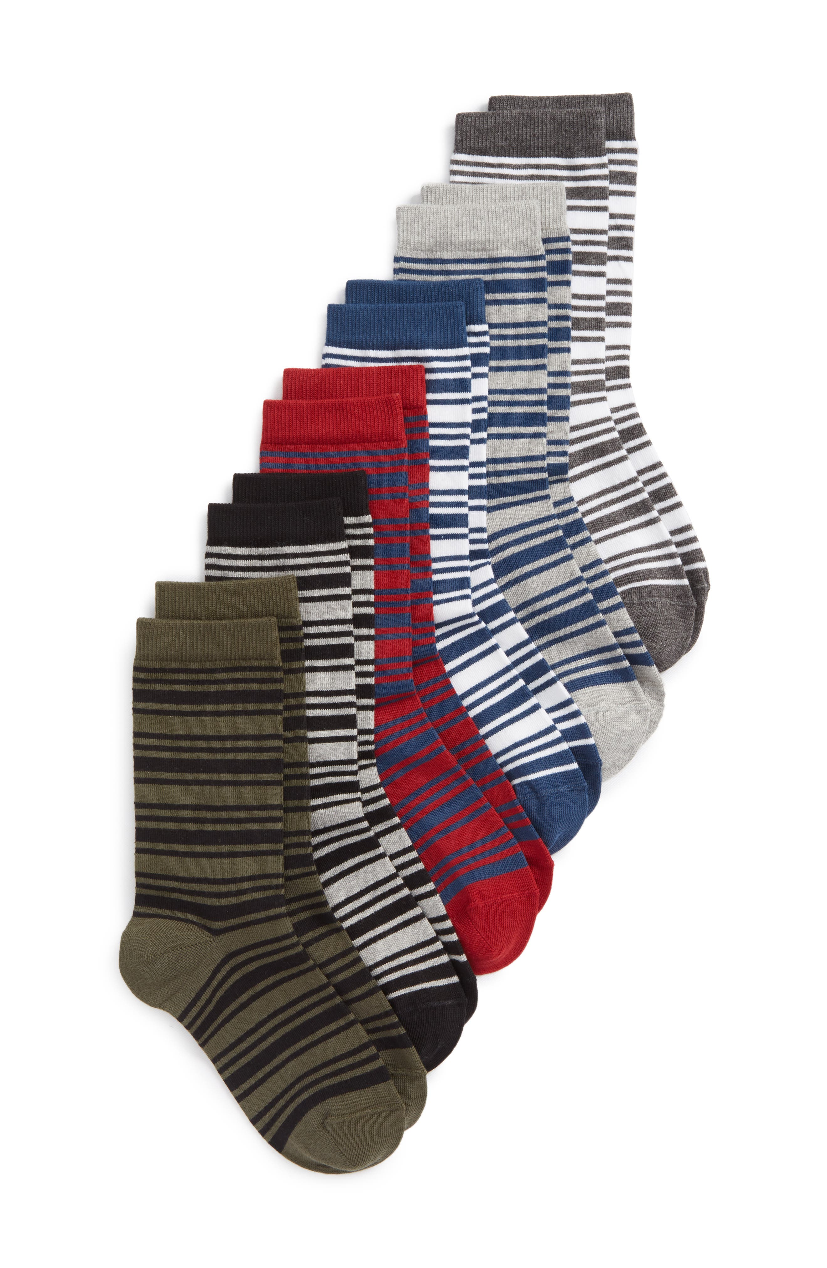 Stripe 6-Pack Crew Socks,                             Main thumbnail 1, color,                             020