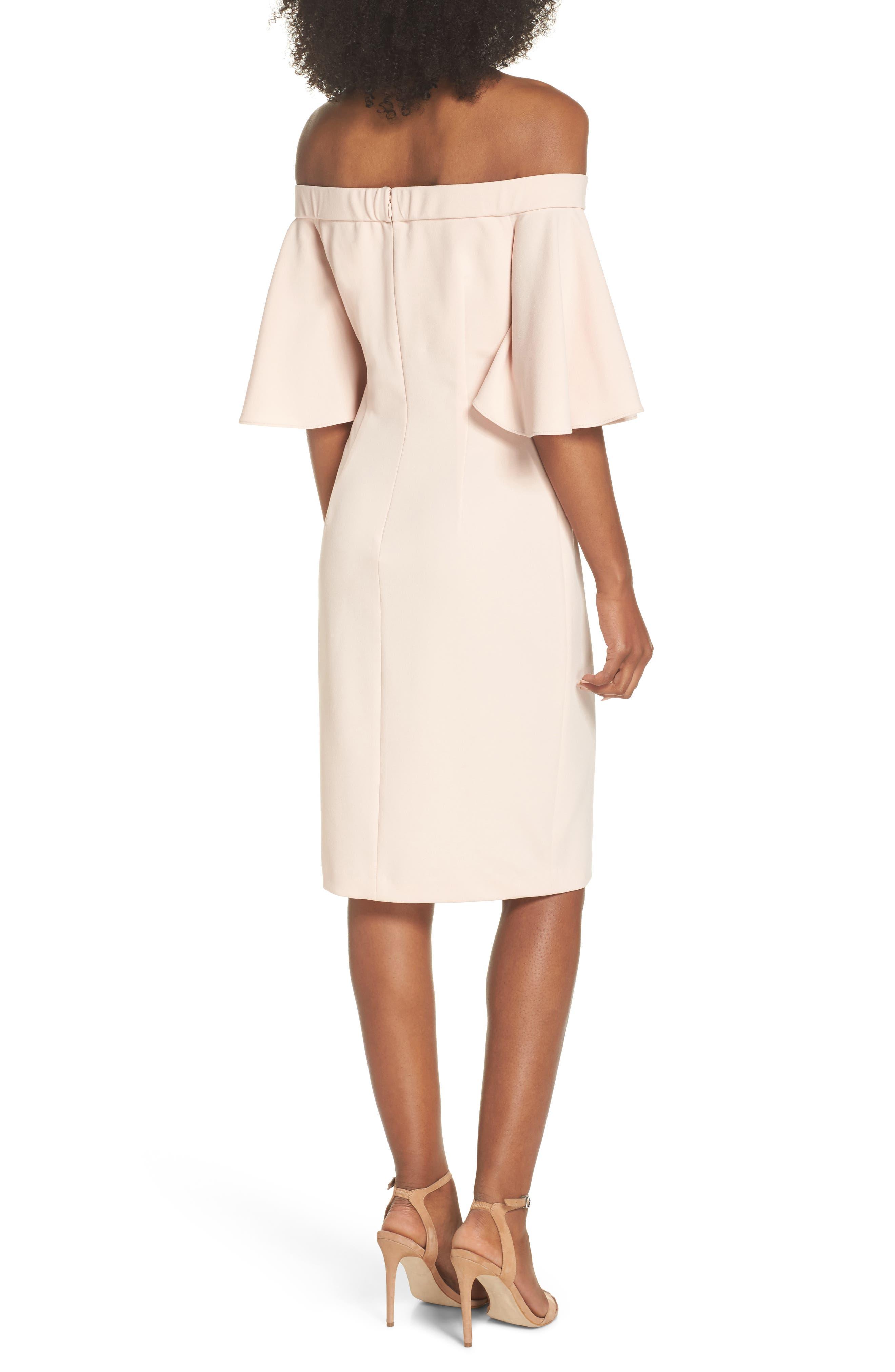 Off the Shoulder Sheath Dress,                             Alternate thumbnail 2, color,                             BLUSH