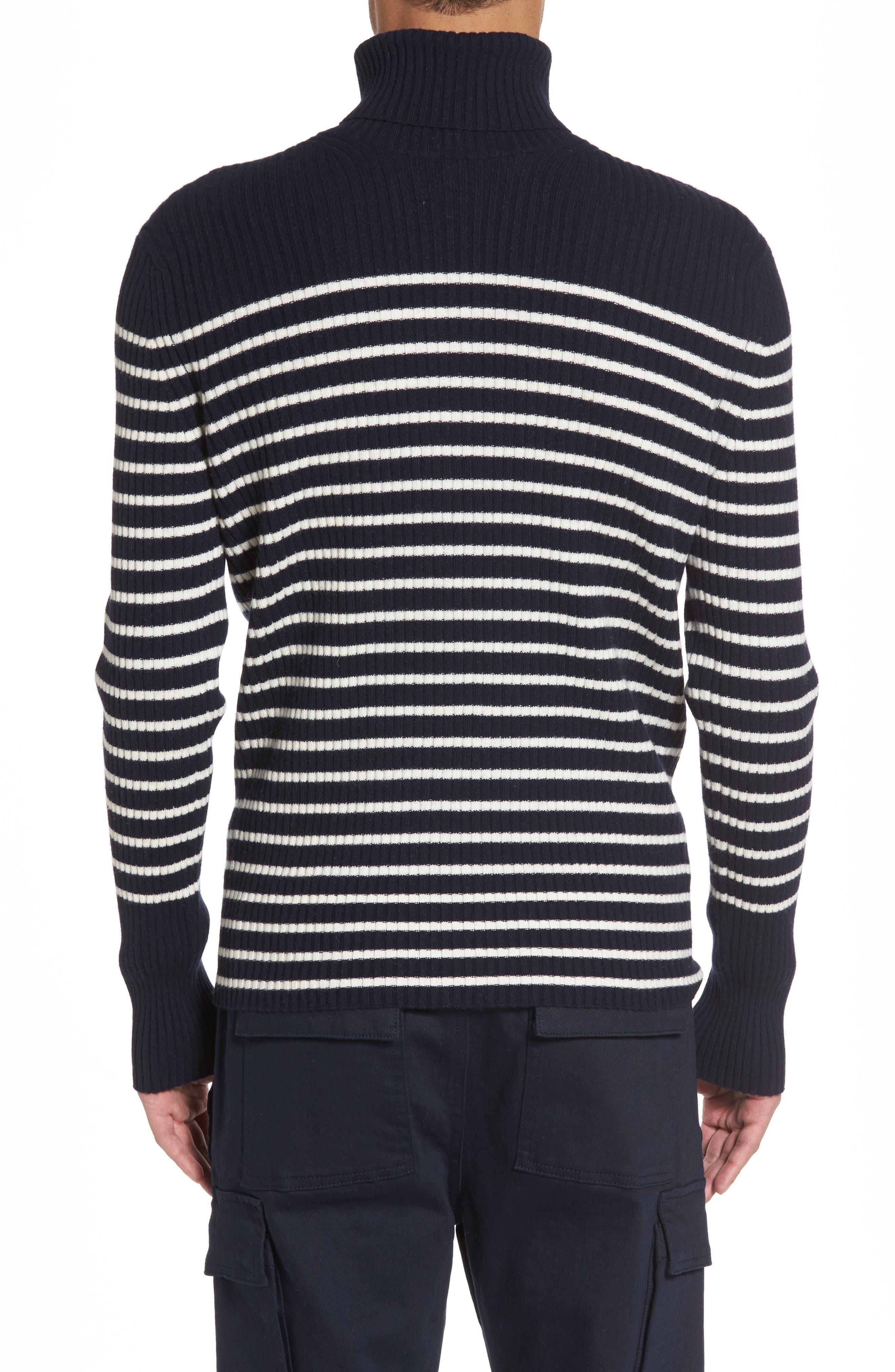 Regular Fit Breton Stripe Cashmere Turtleneck Sweater,                             Alternate thumbnail 4, color,