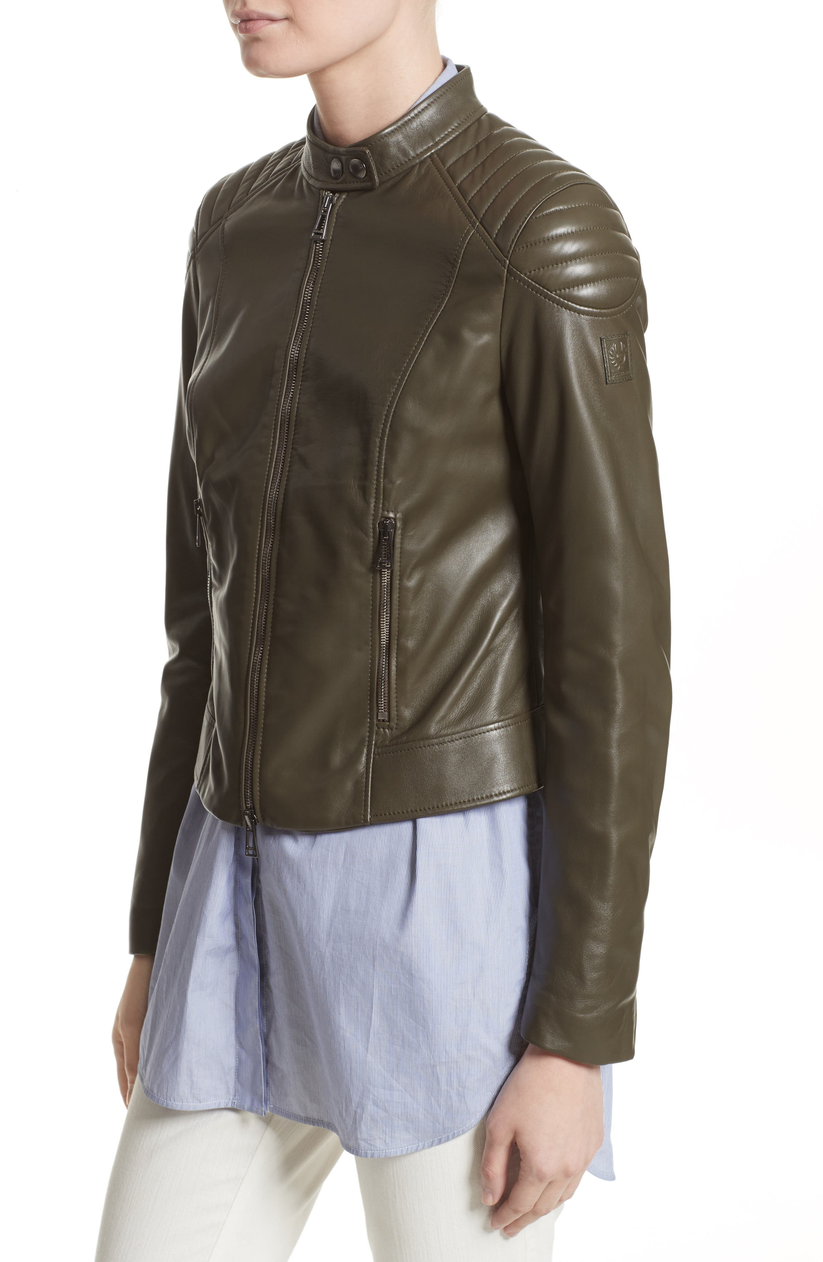 Mollison Leather Moto Jacket,                             Alternate thumbnail 9, color,