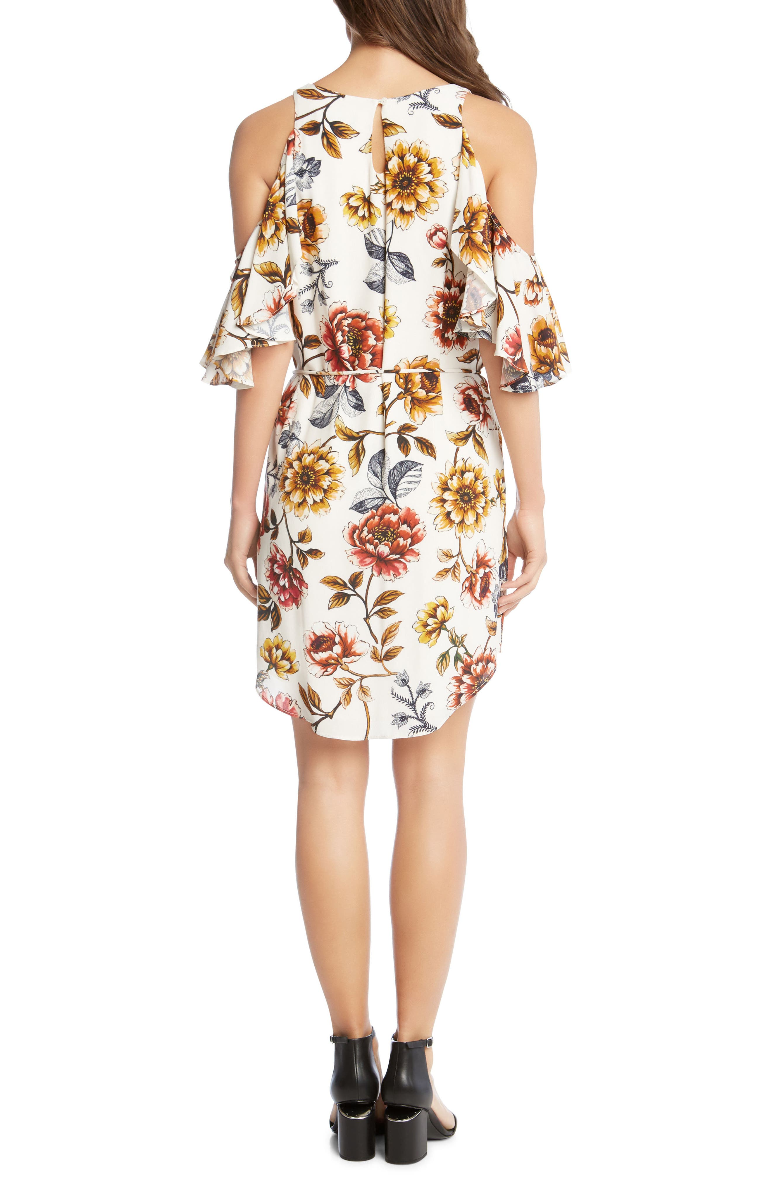 Kane Kane Cold Shoulder Floral Dress,                             Alternate thumbnail 2, color,                             PRINT