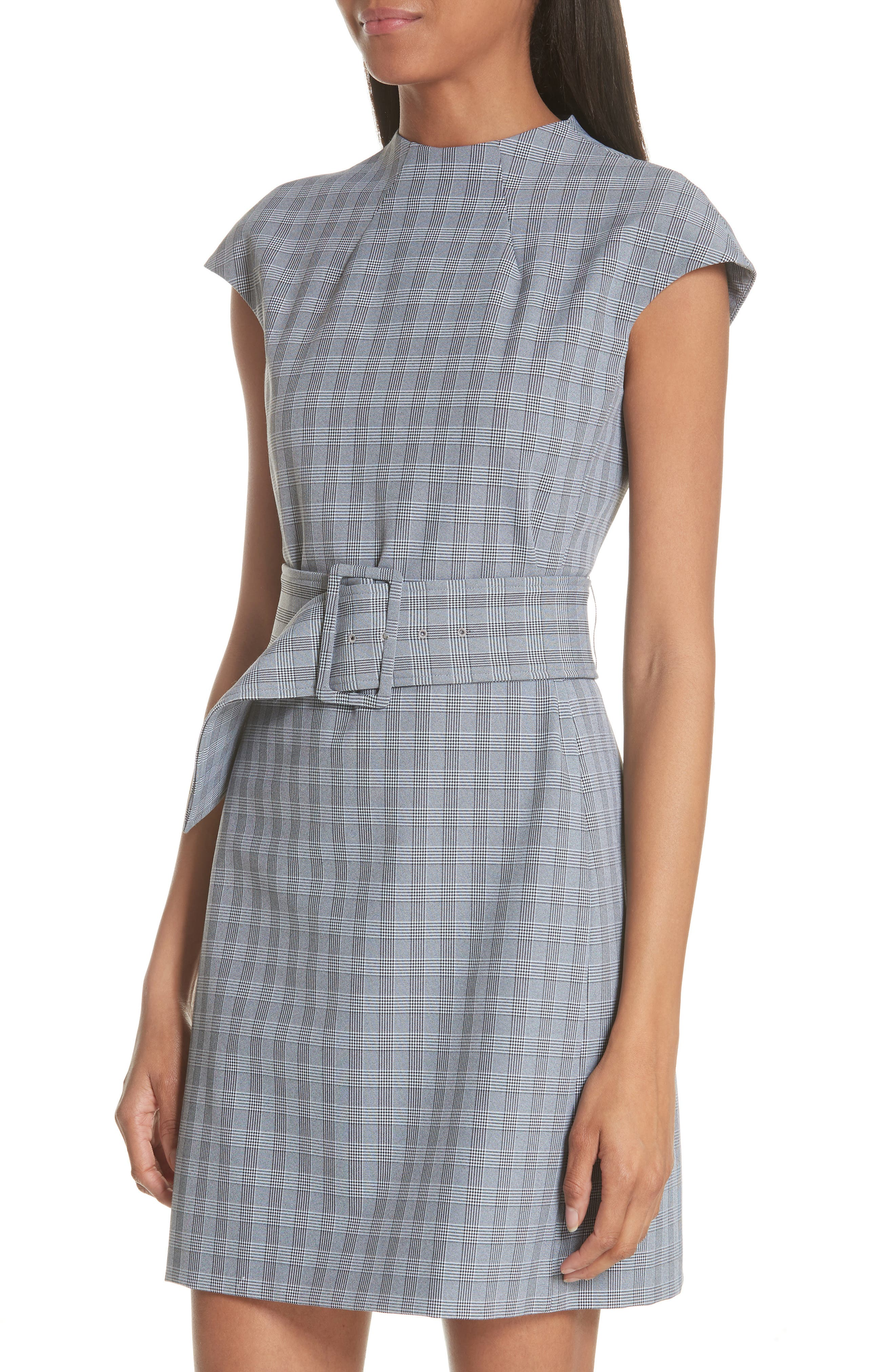 McClair Plaid Mod Belted Sheath Dress,                             Alternate thumbnail 4, color,                             009