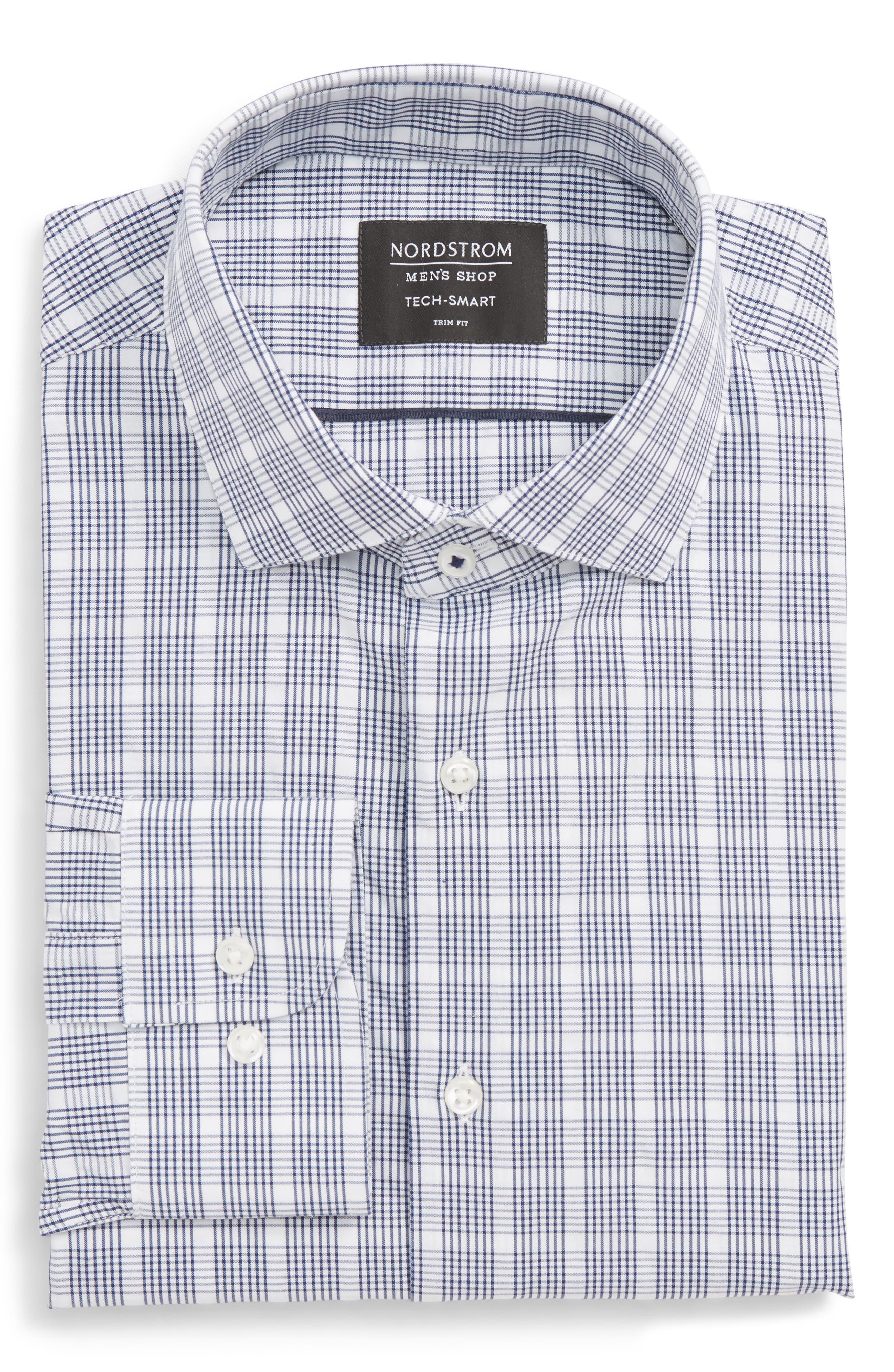 Tech-Smart Trim Fit Plaid Dress Shirt,                             Alternate thumbnail 5, color,                             410