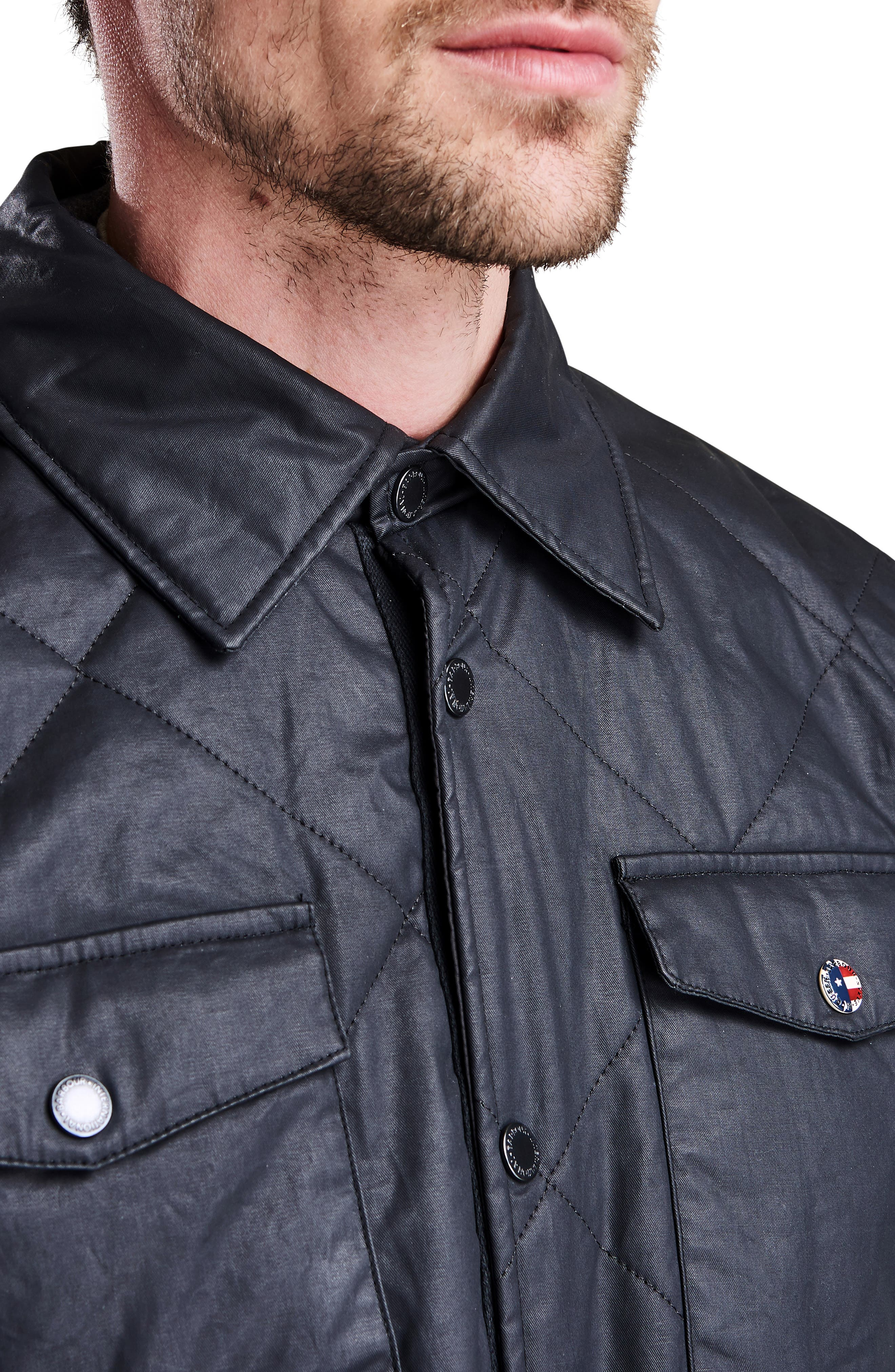 International Sonoran Quilted Shirt Jacket,                             Alternate thumbnail 3, color,                             BLACK