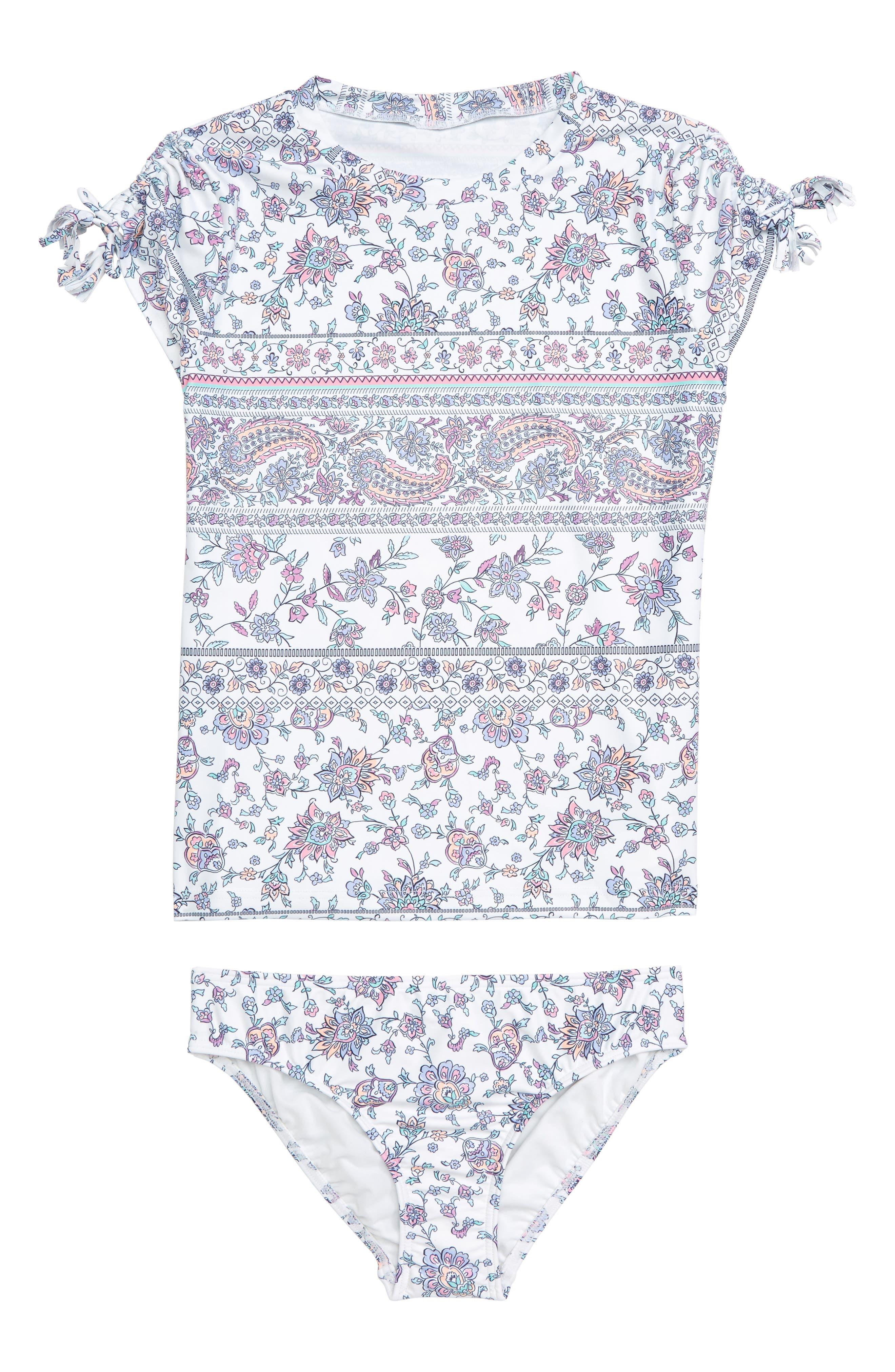 Girls Seafolly Pop Palace Surf TwoPiece Rashguard Swimsuit Size 12  White