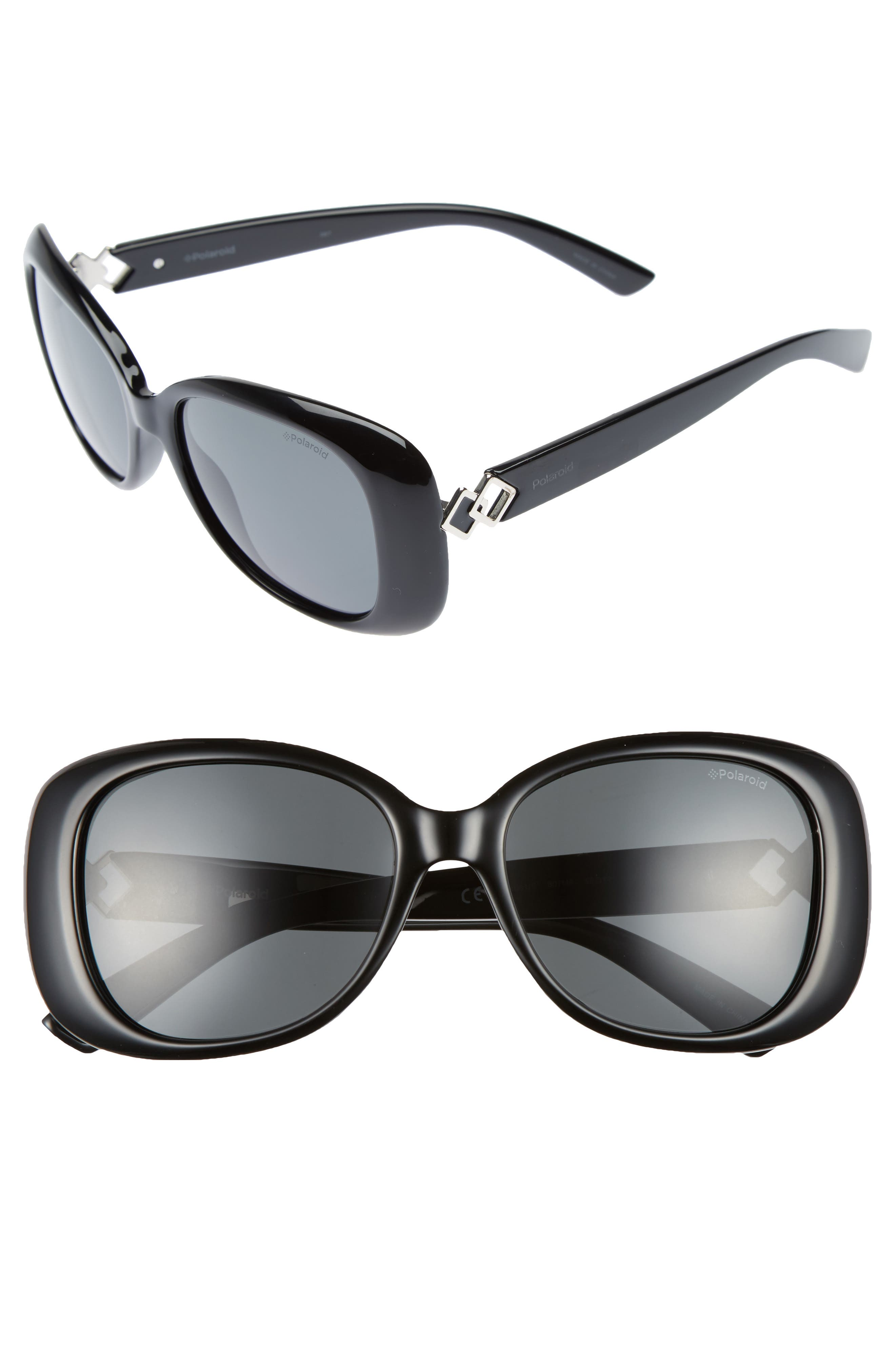 55mm Polarized Butterfly Sunglasses,                             Main thumbnail 1, color,                             001
