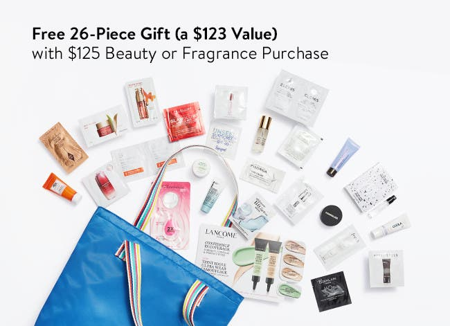 Free 26-piece gift with $125 beauty or fragrance purchase.