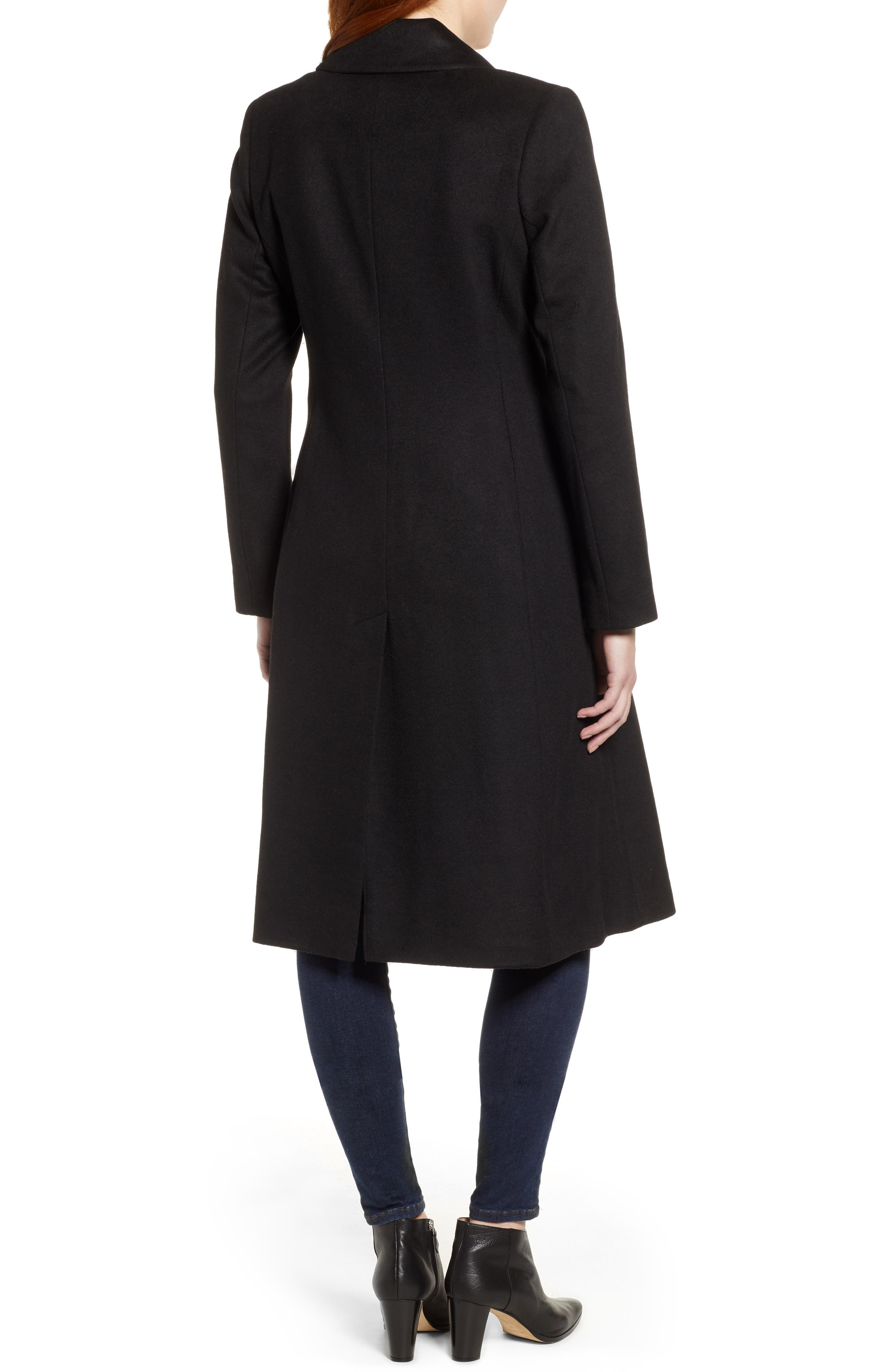 Wool Blend Trench Coat,                             Alternate thumbnail 2, color,                             BLACK