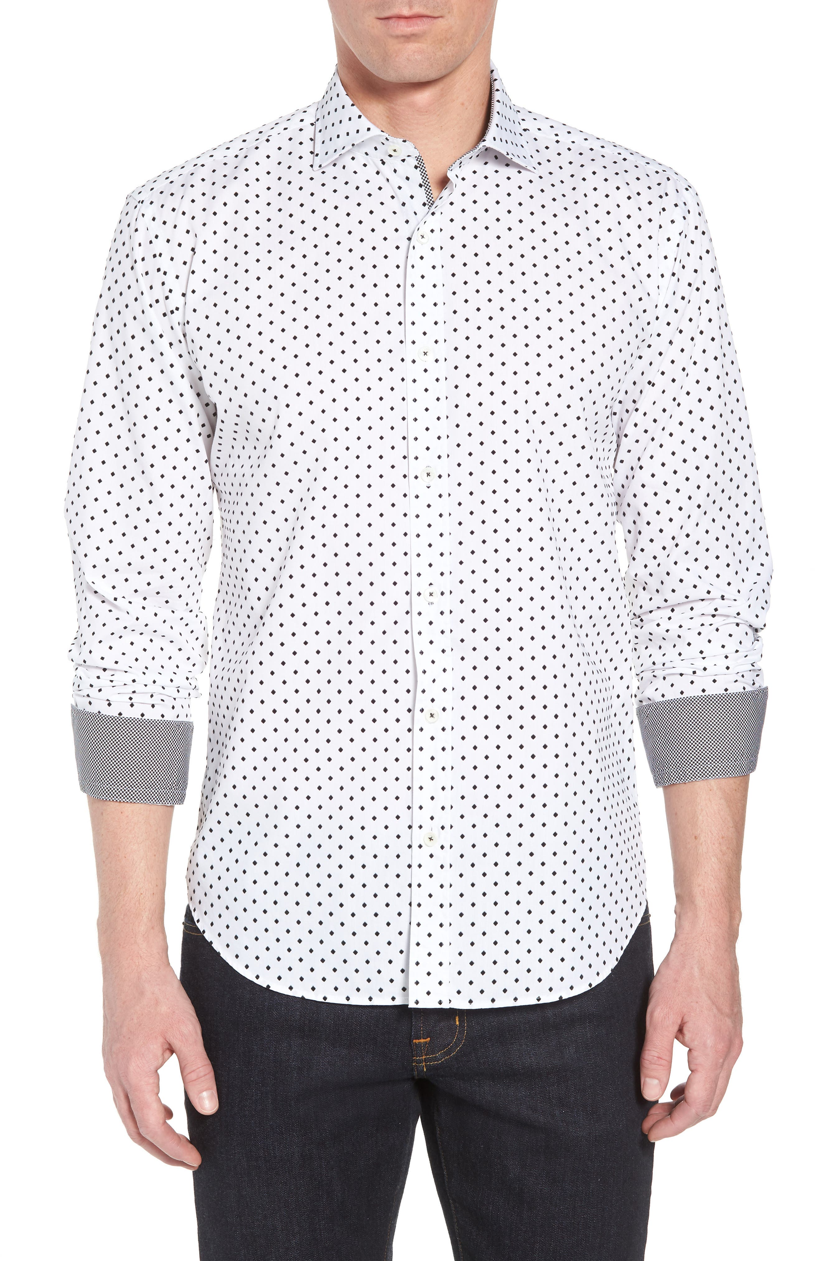 Shaped Fit Print Sport Shirt,                         Main,                         color, 100