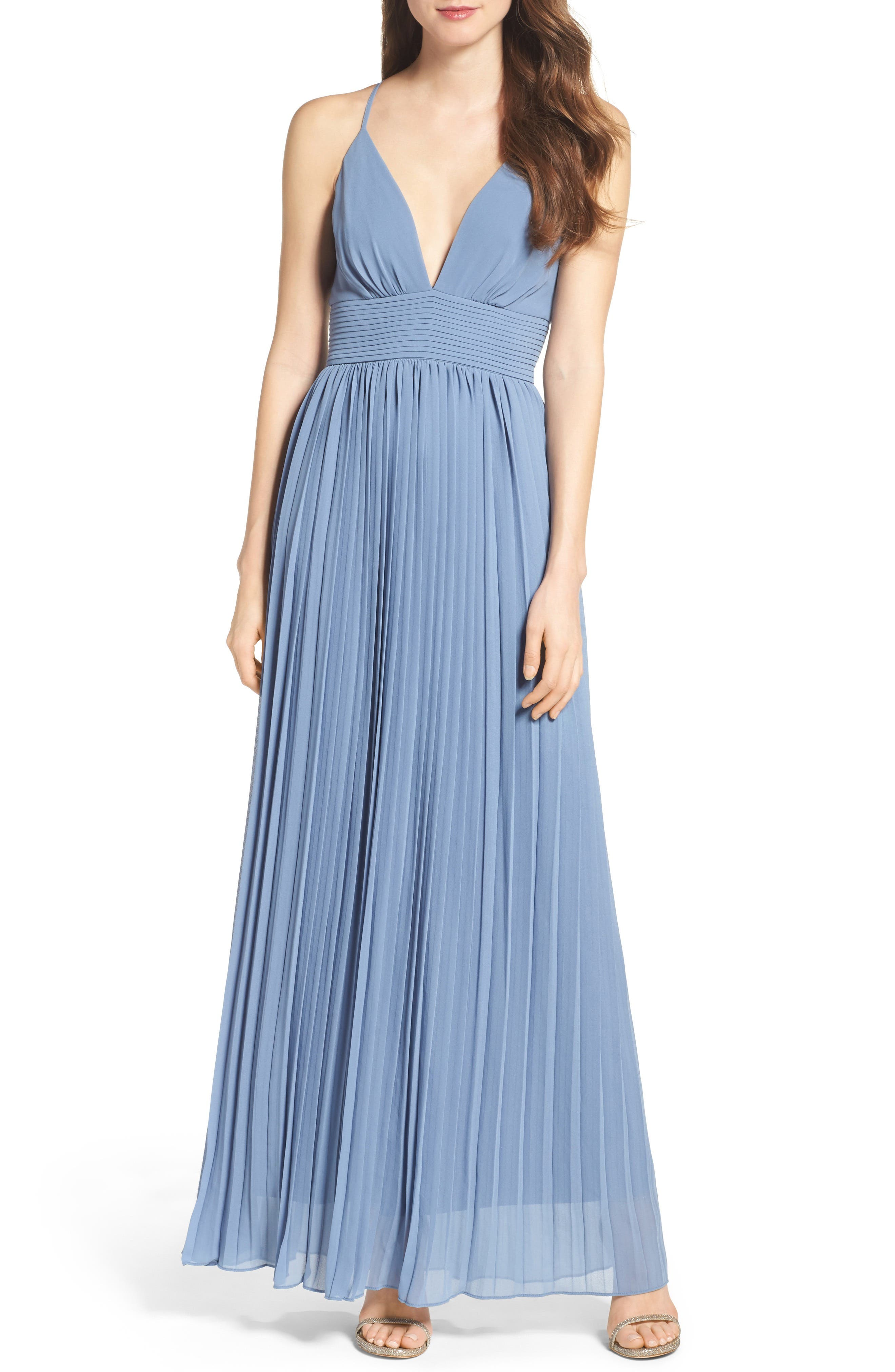 Plunging V-Neck Pleat Georgette Gown,                             Main thumbnail 4, color,